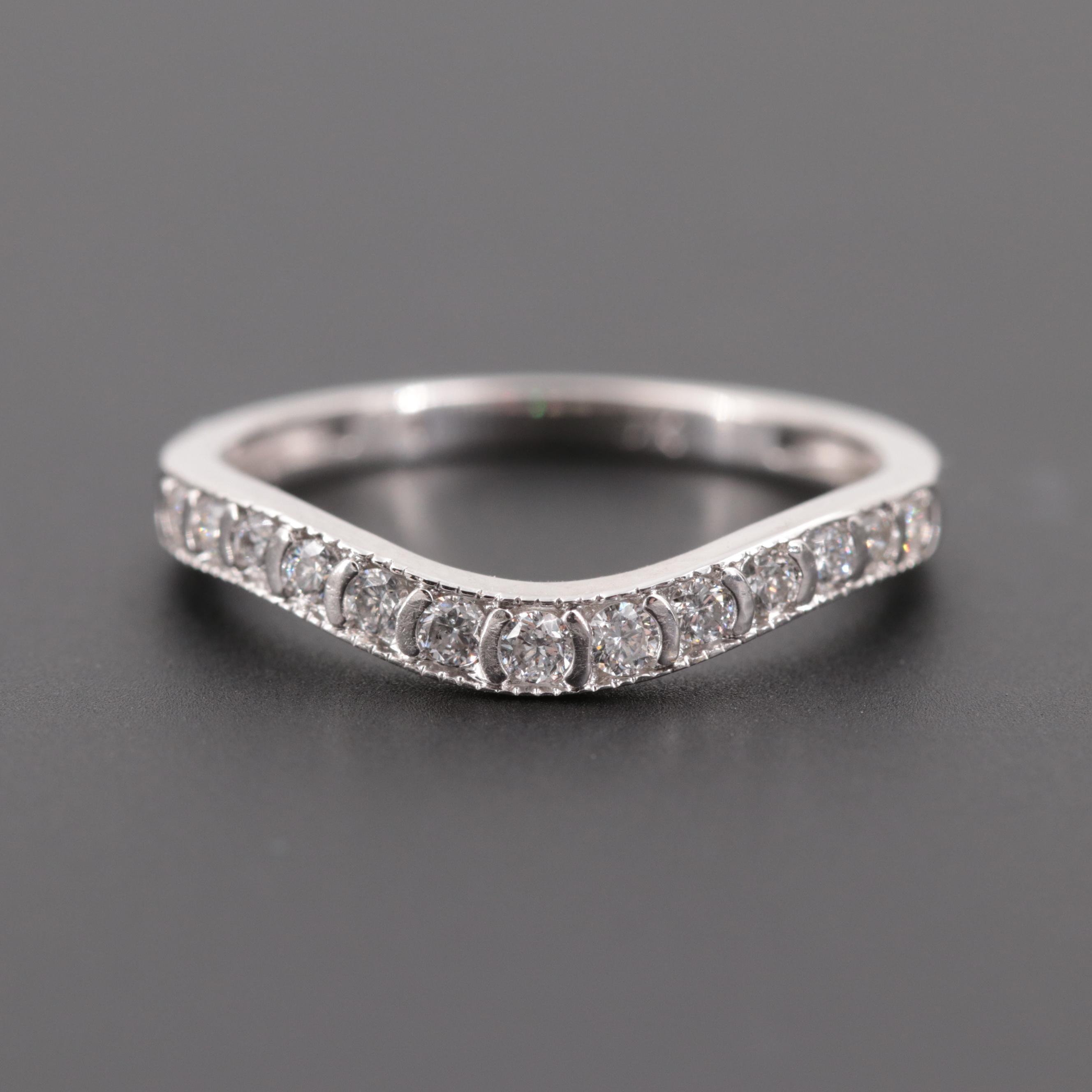 14K White Gold Diamond Shadow Ring