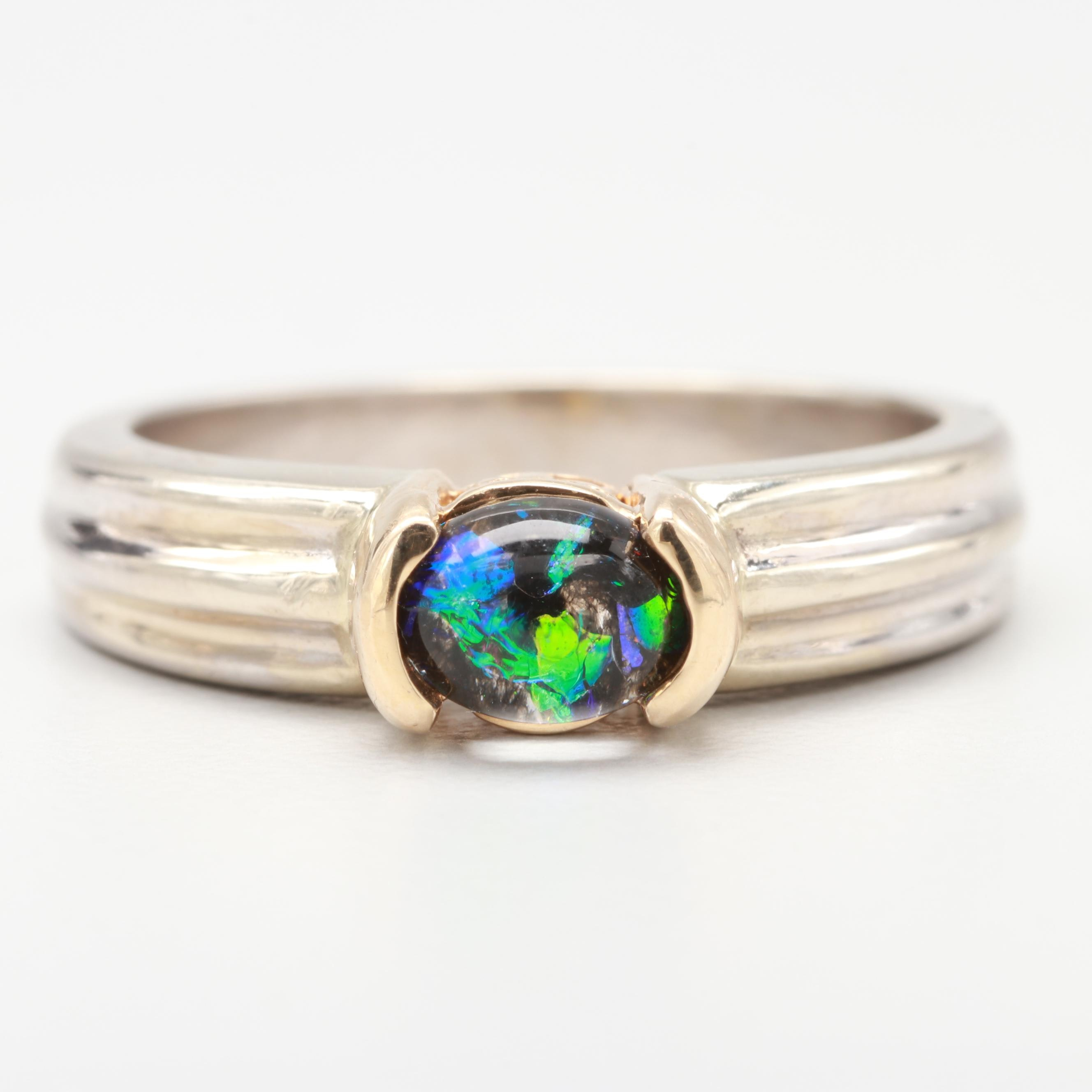 14K Yellow and White Gold Imitation Opal Ring