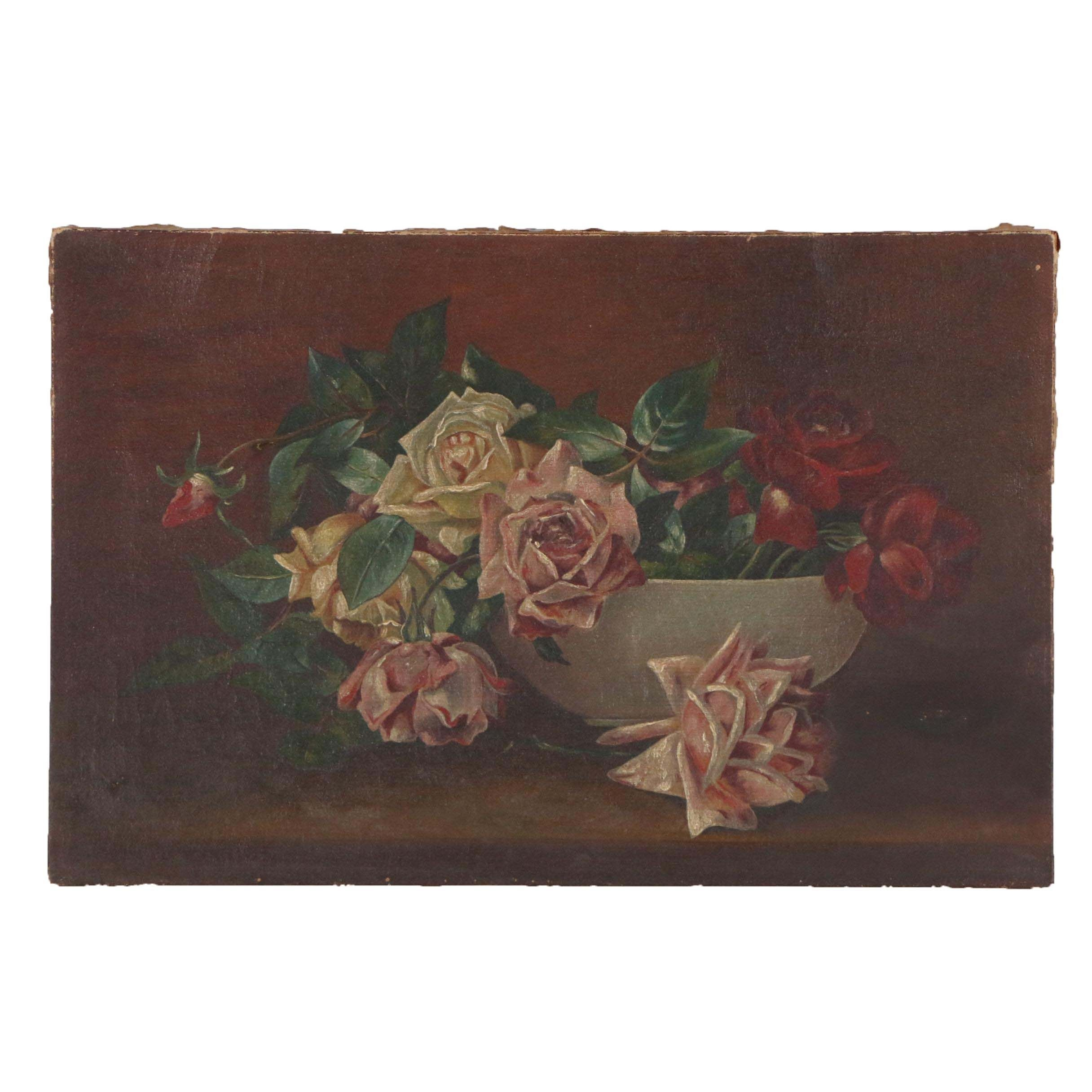 Late 19th Century Oil Painting of Floral Still Life