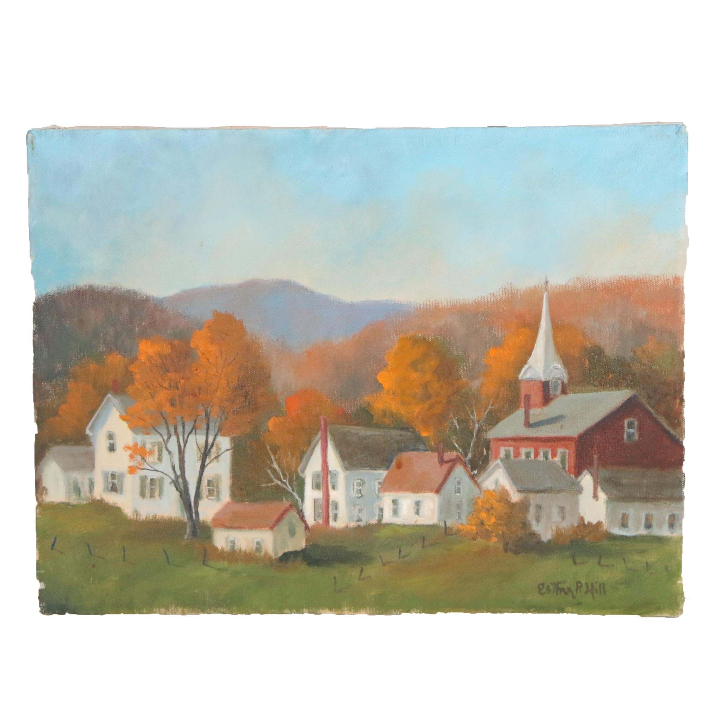 Esther Hill Oil Painting of Autumnal Town Scene