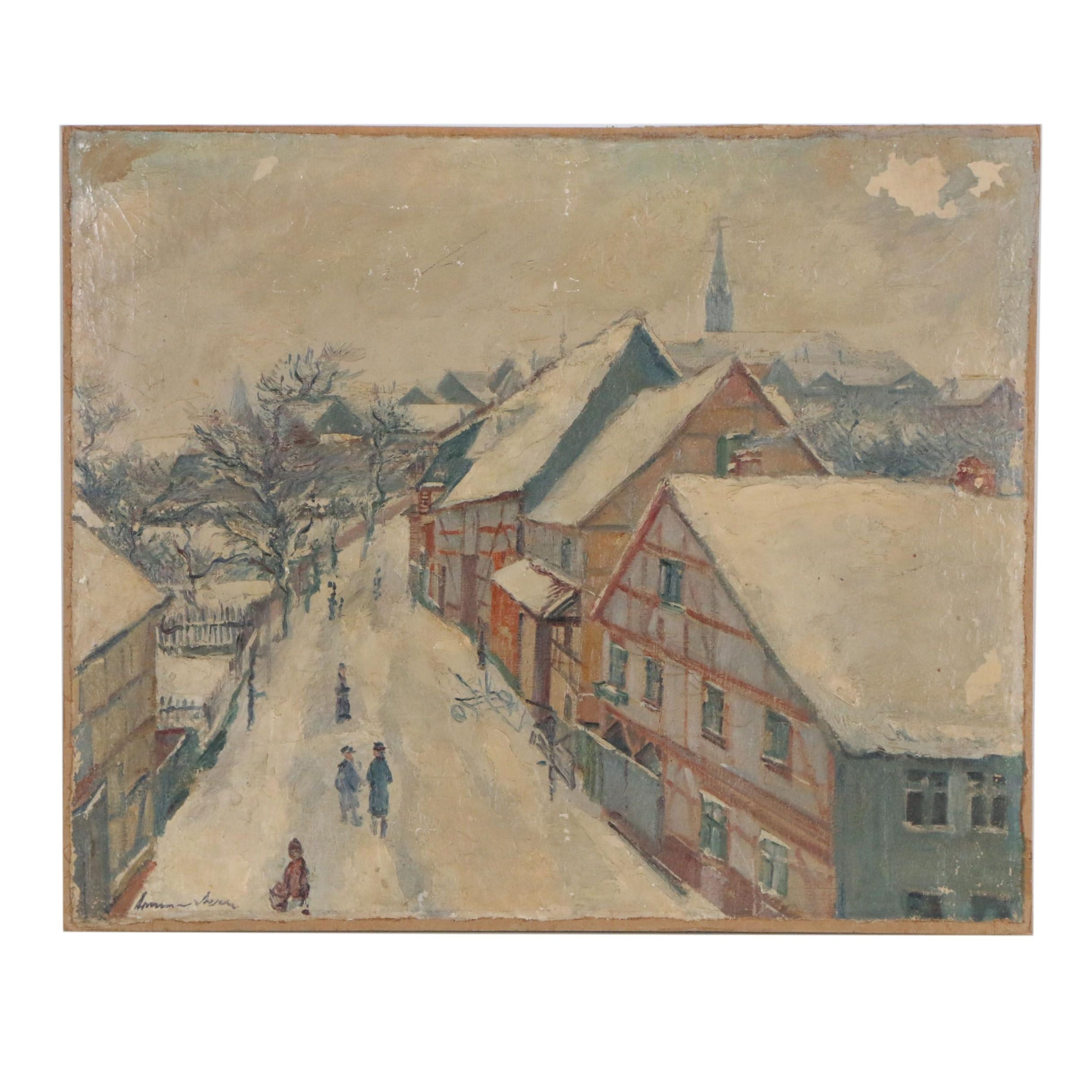 Mid 20th Century Oil Painting of Winter Town Scene
