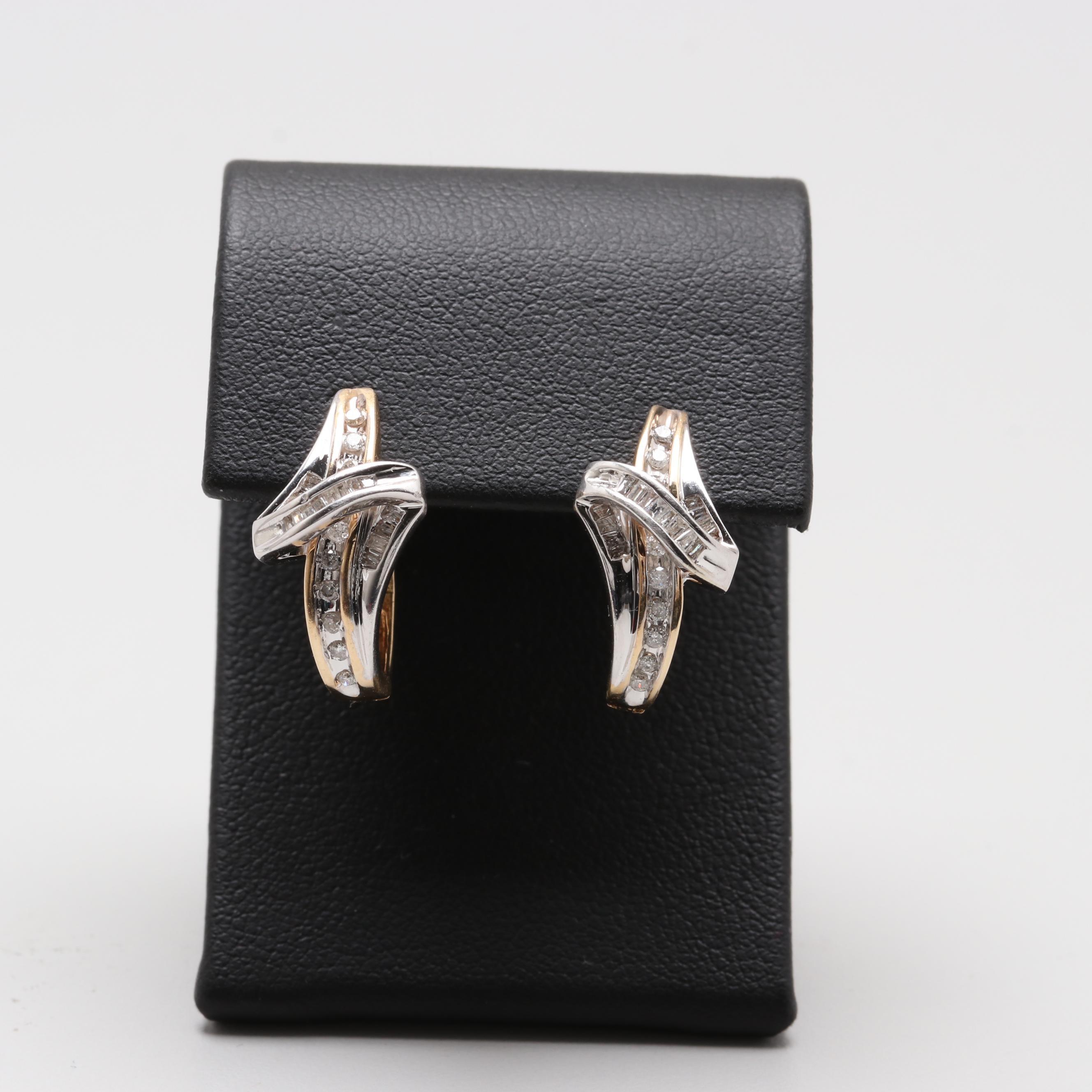 14K Yellow and White Gold Diamond Earrings