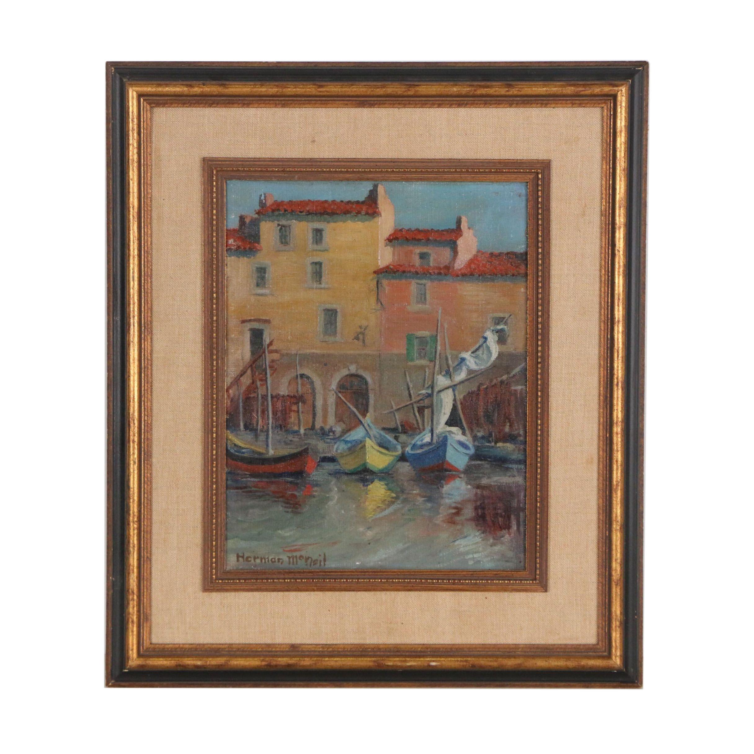 Herman McNeil Oil Painting of Harbor Scene