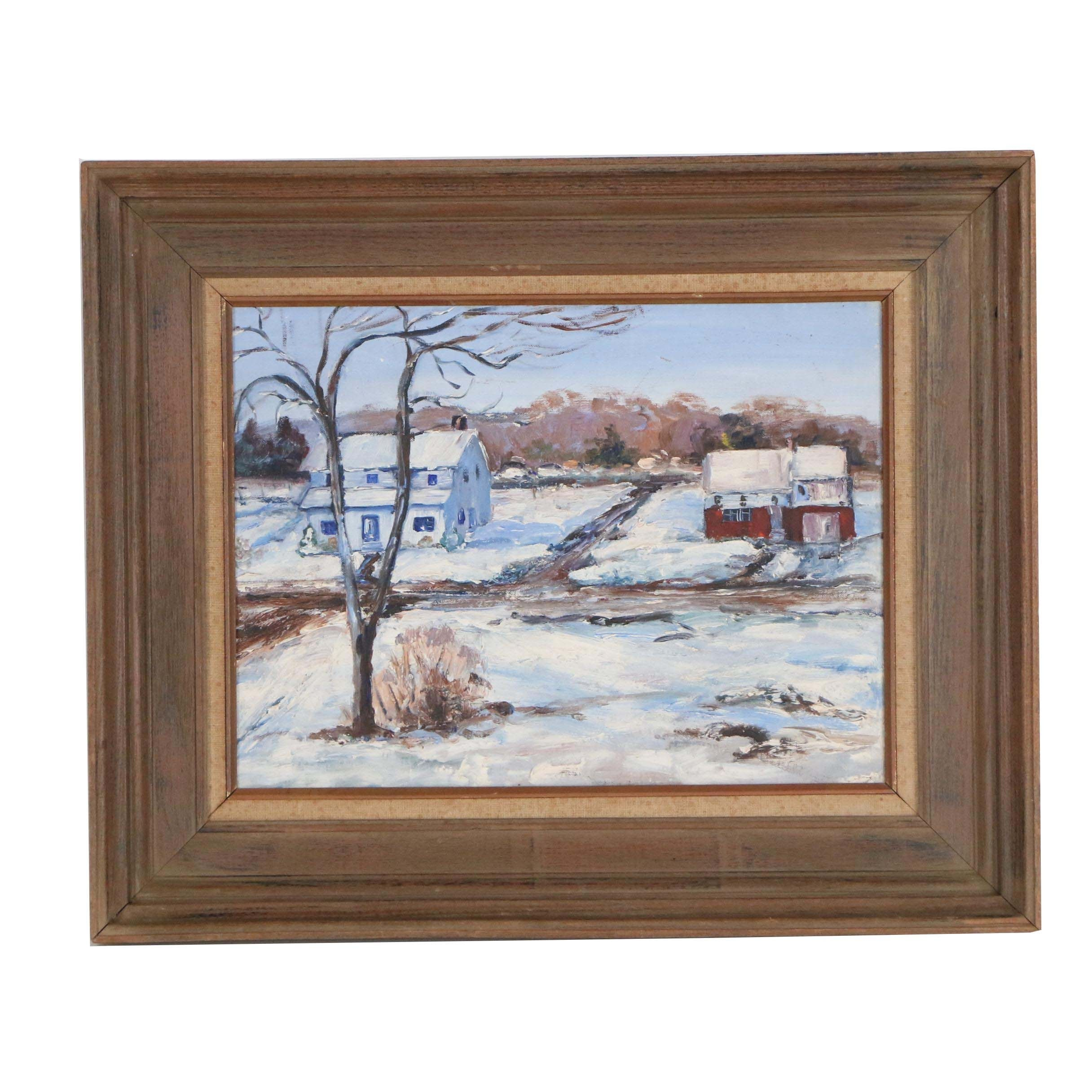 Late 20th Century Oil Painting of Winter Landscape