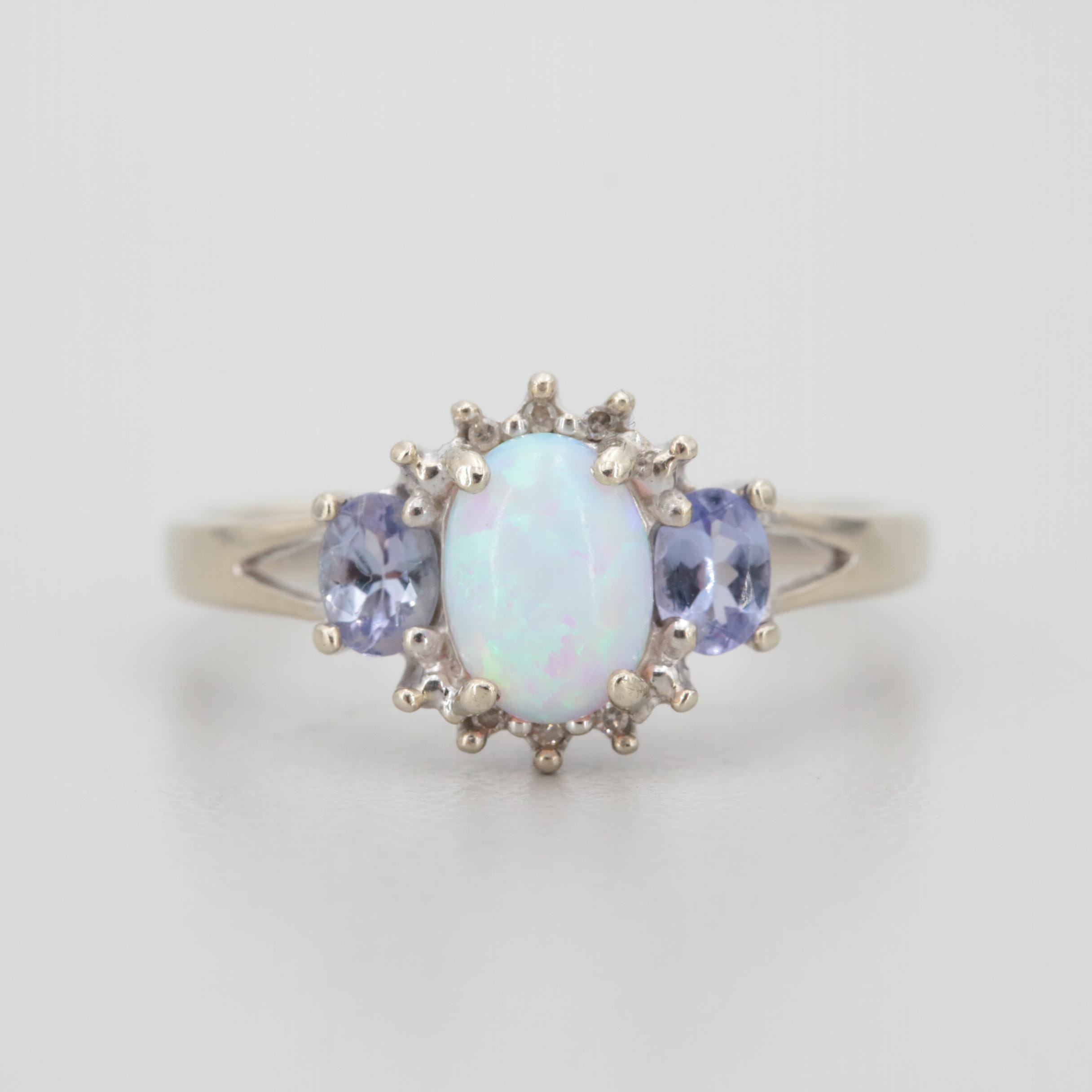 10K White Gold Synthetic Opal, Tanzanite and Diamond Ring