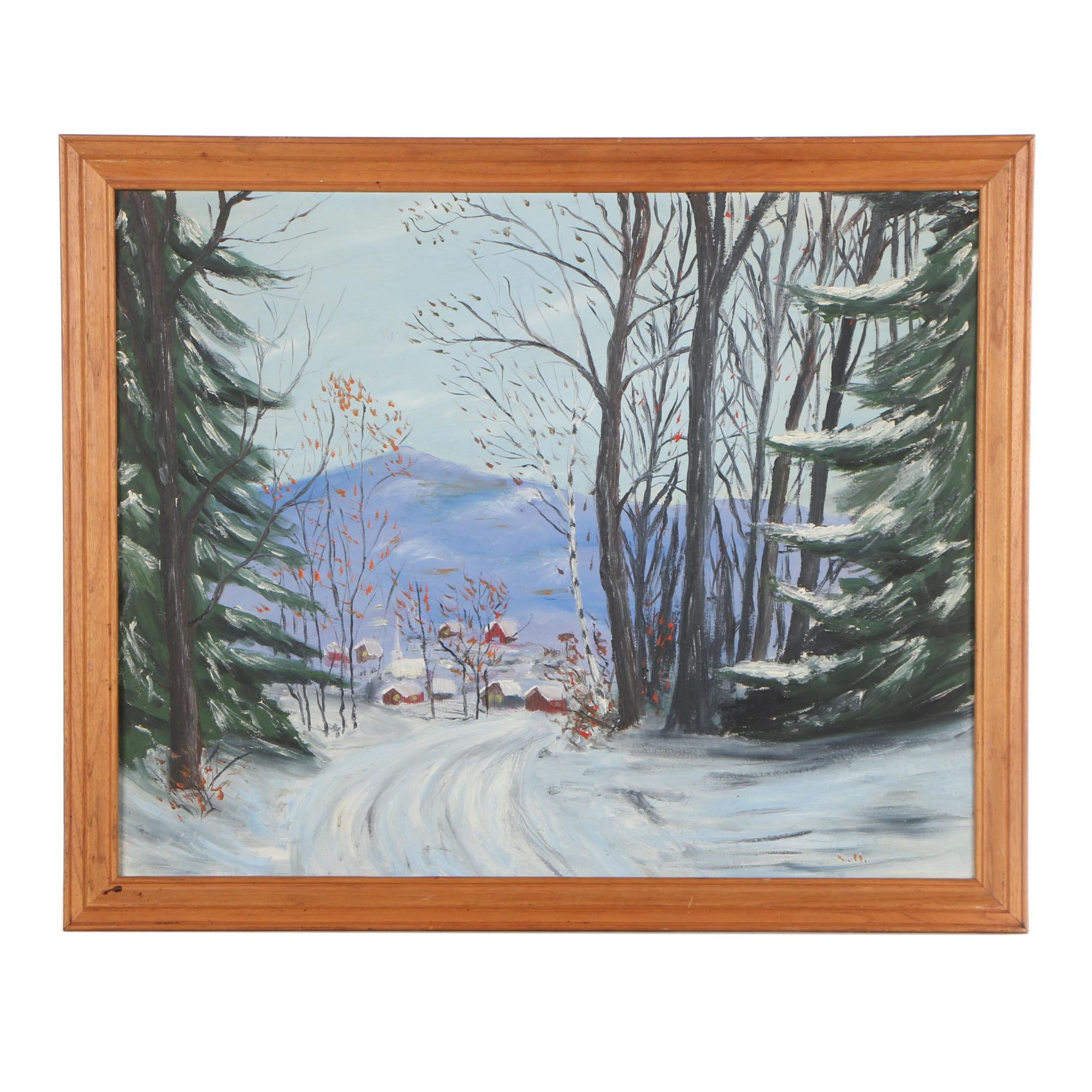 K. Hemlock Oil Painting of Winter Landscape