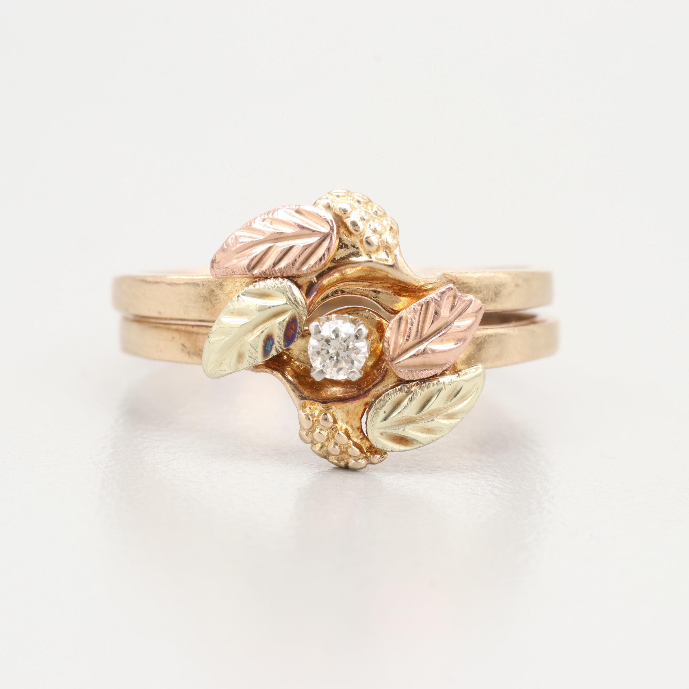 Coleman Co. 10K Gold Diamond Foliate Ring With Rose and Green Gold Accents