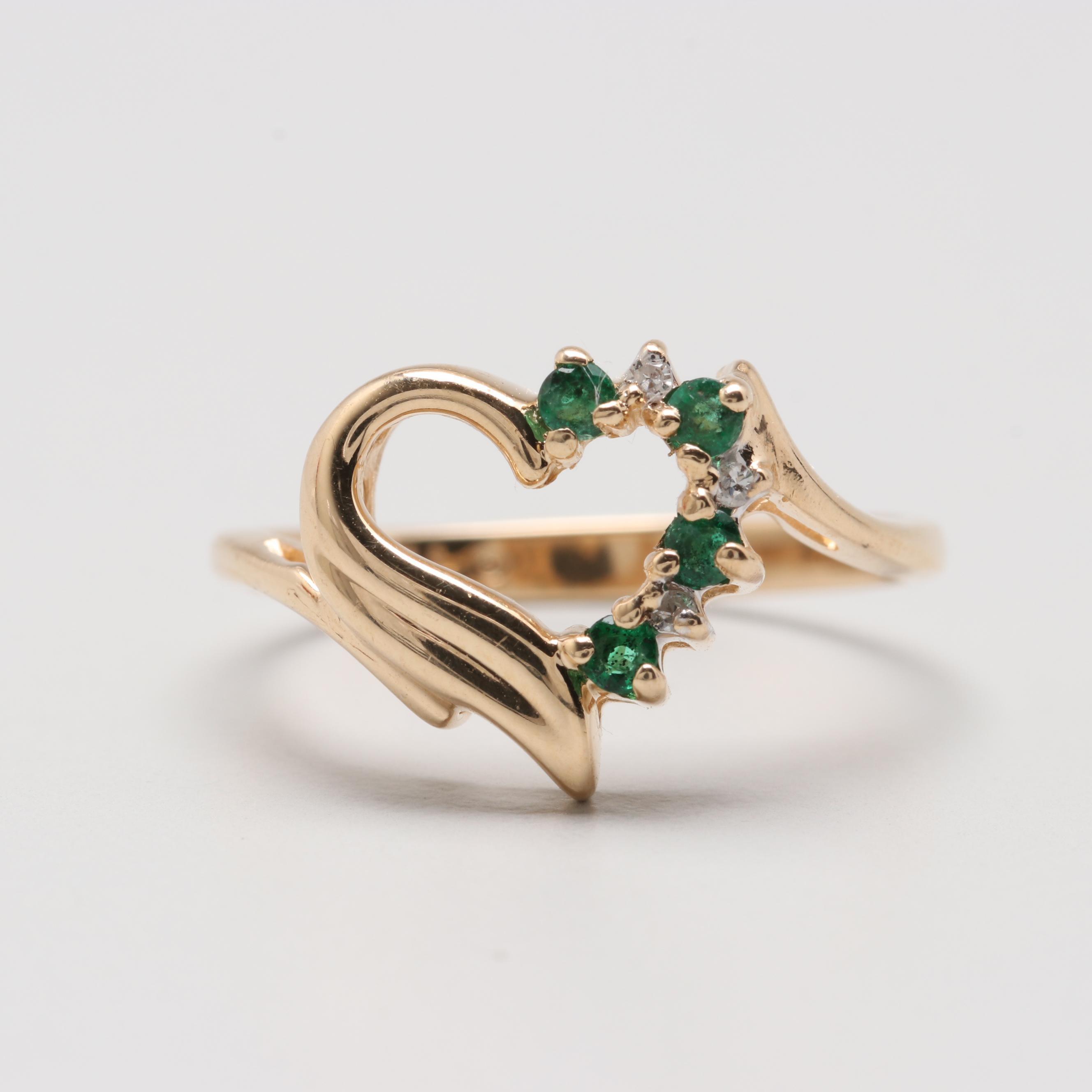 Alwand Vahan 14K Yellow Gold Emerald and Diamond Heart Ring