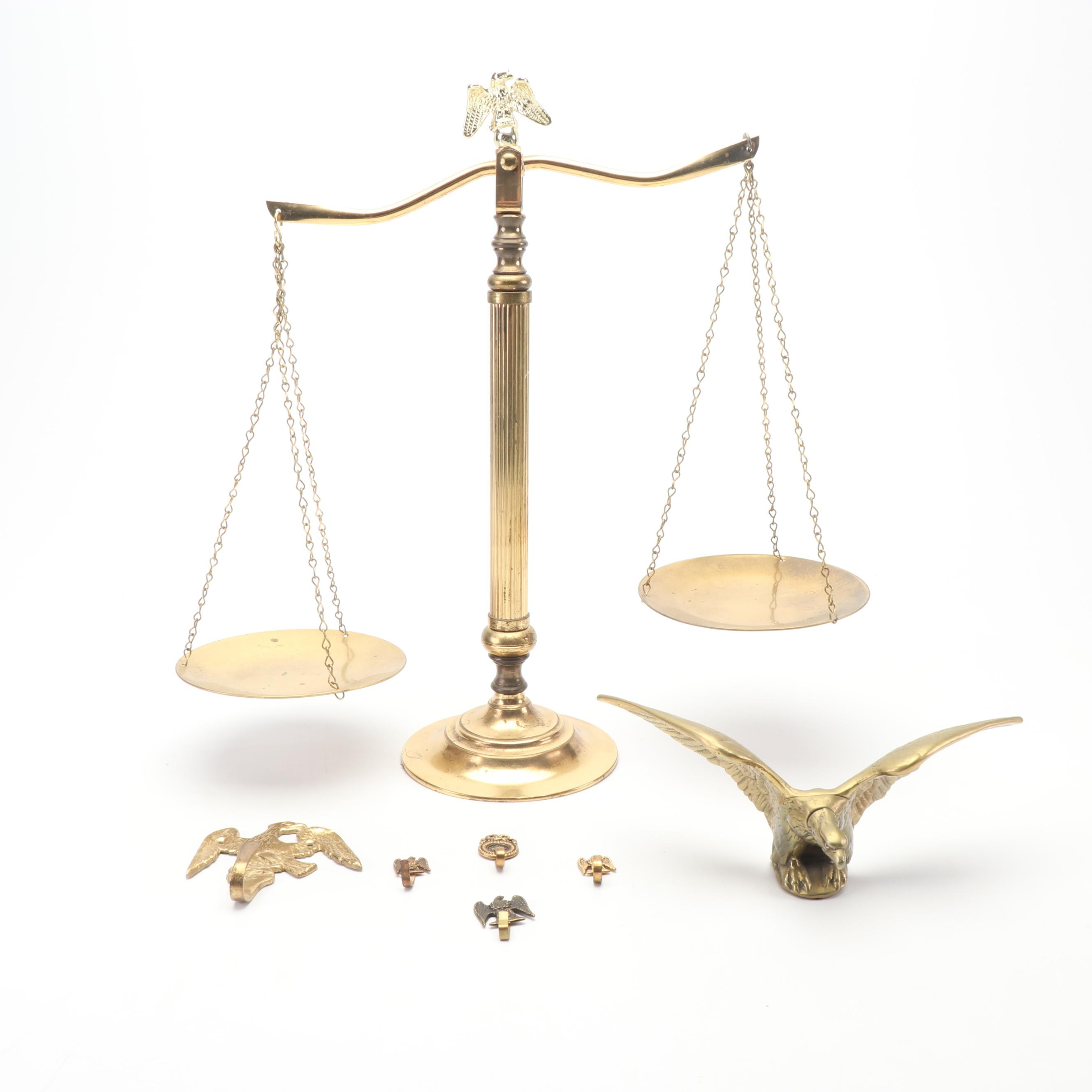 Brass Eagle Motif Décor, including a Balance Scale, Finial and Wall Hooks