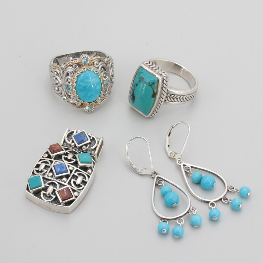 Orted Sterling Silver Gemstone Earrings Rings And Pendant