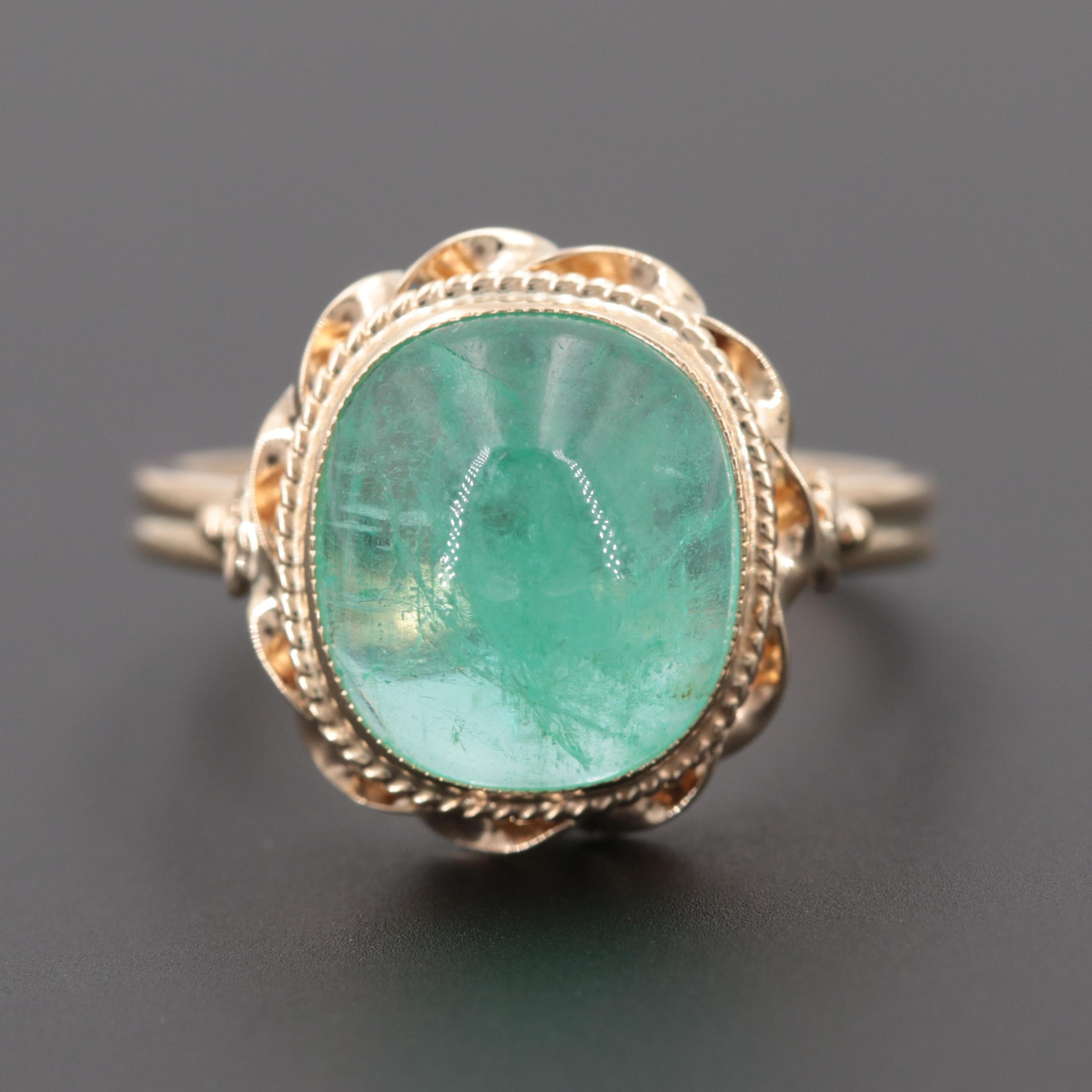 14K Yellow Gold 5.18 CT Emerald Ring