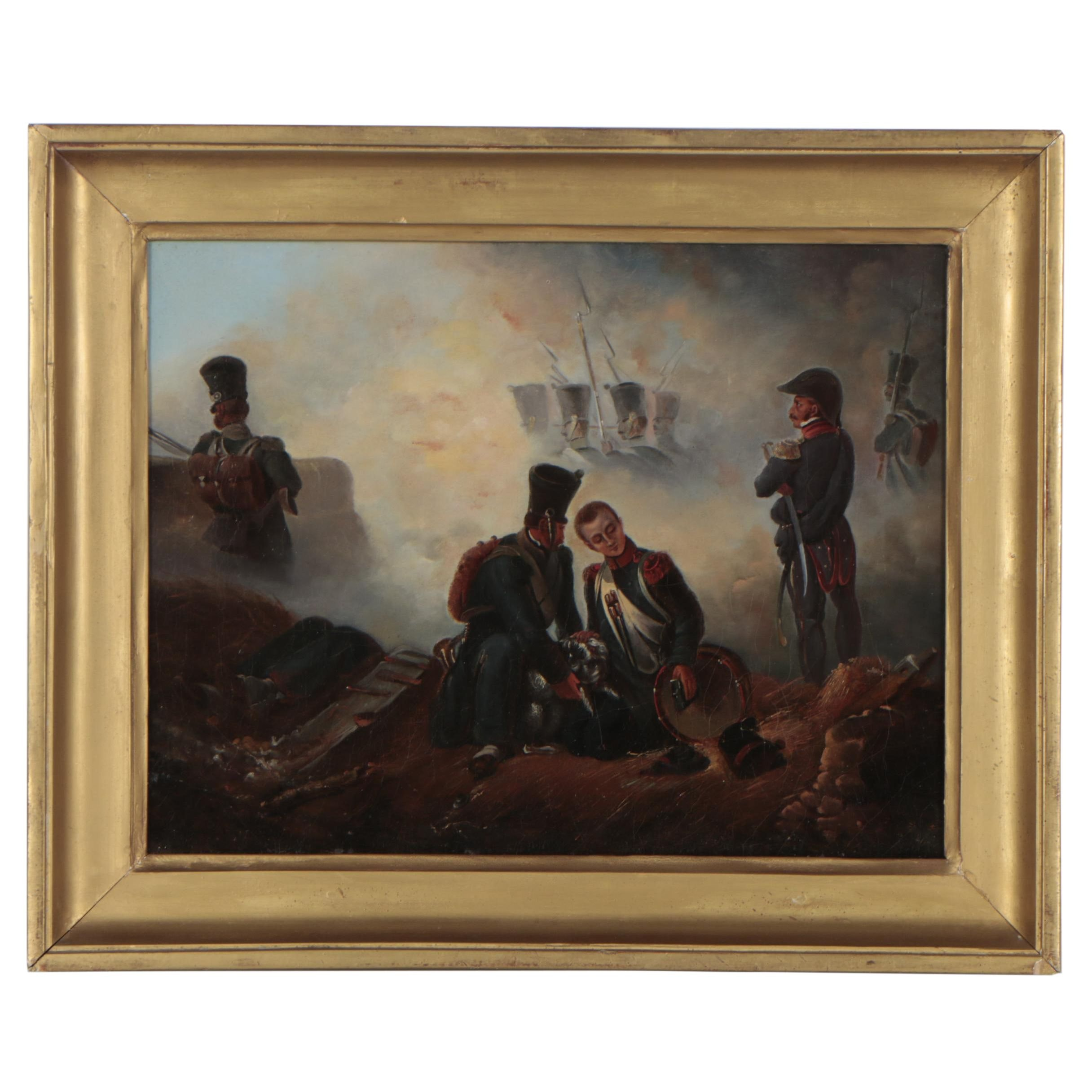 "Late 19th Century Oil Painting ""Battle Scene"" after Ernest Crofts"
