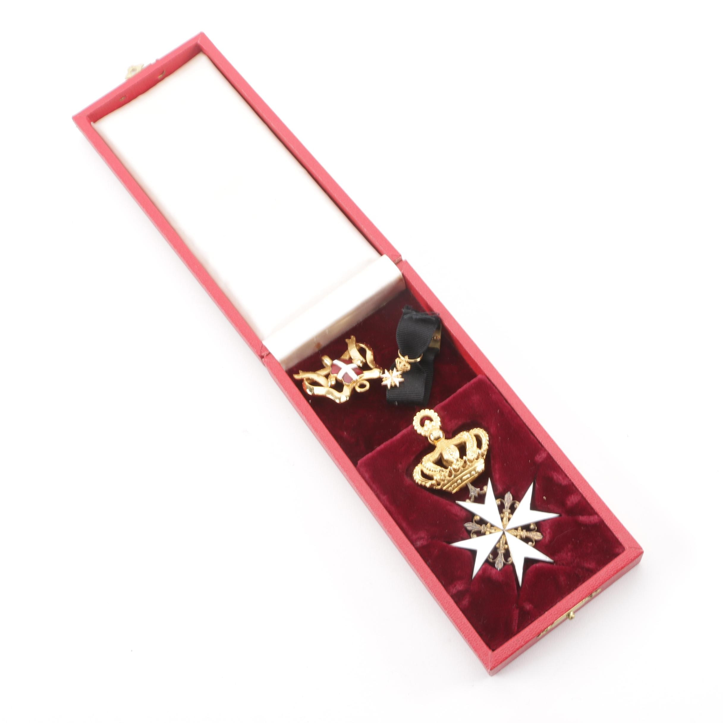 Order Knights of Malta Gilt Metal and Enameled Neck Badge