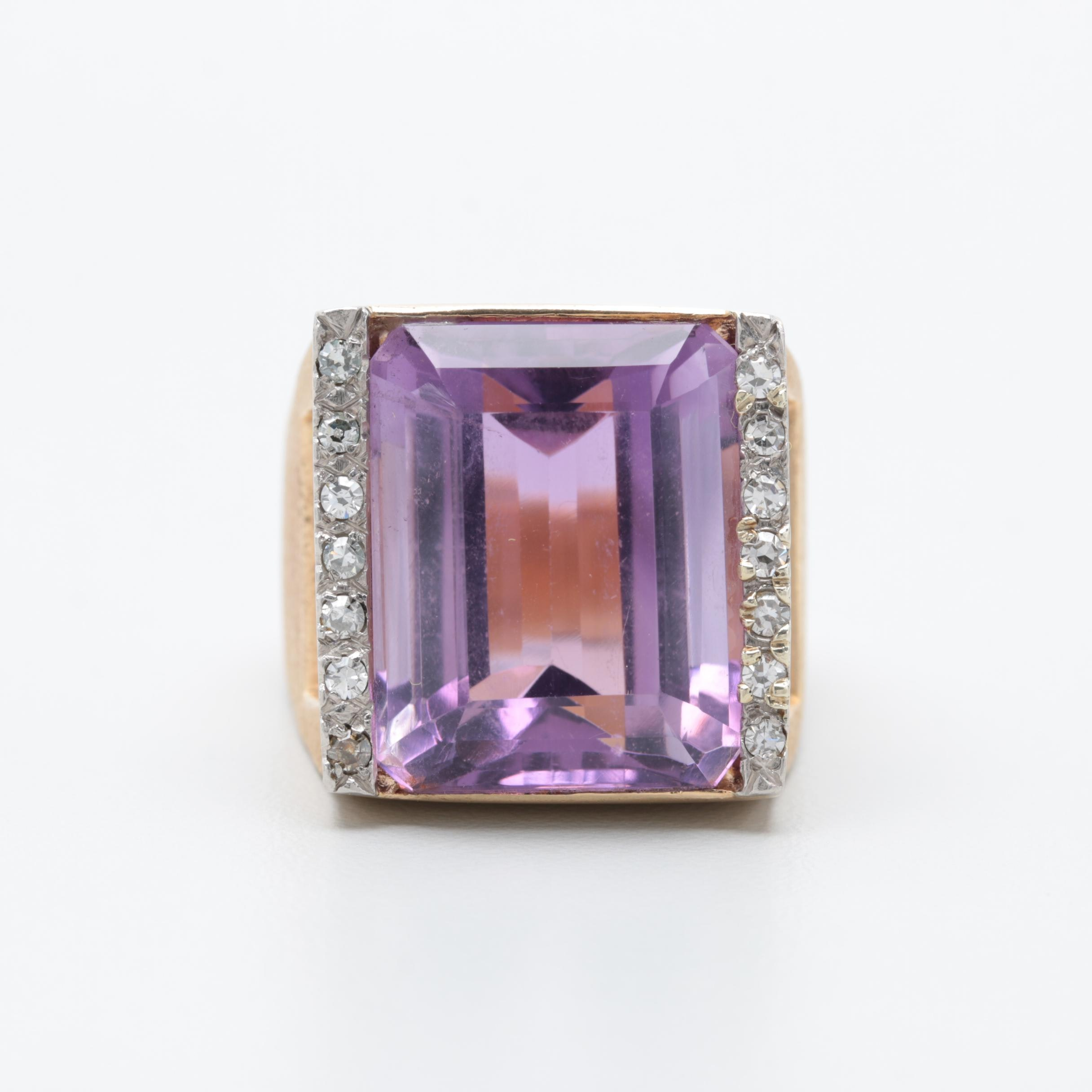 14K Yellow Gold Amethyst and Diamond Cocktail Ring with Palladium Accents