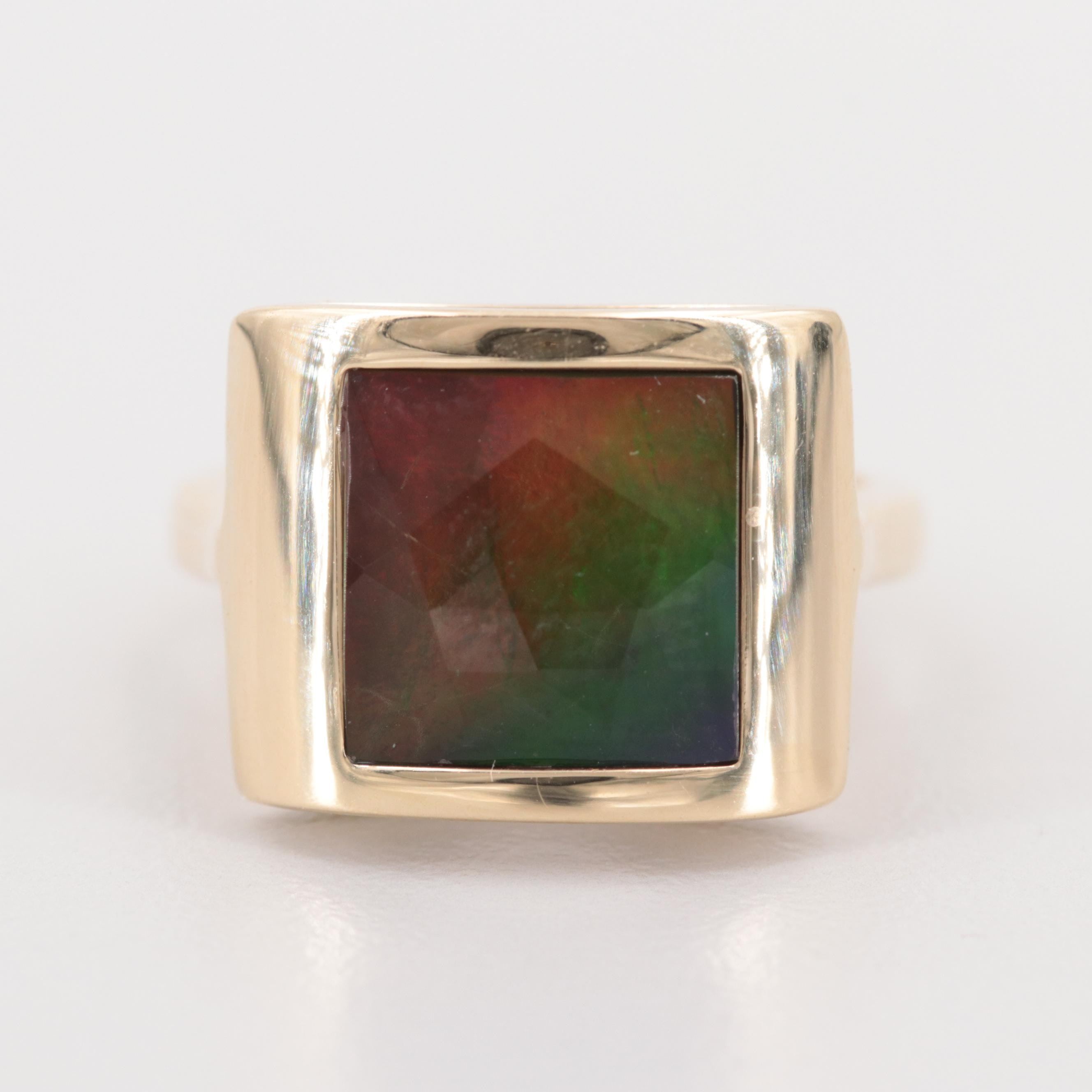 14K Yellow Gold Ammolite Triplet Ring