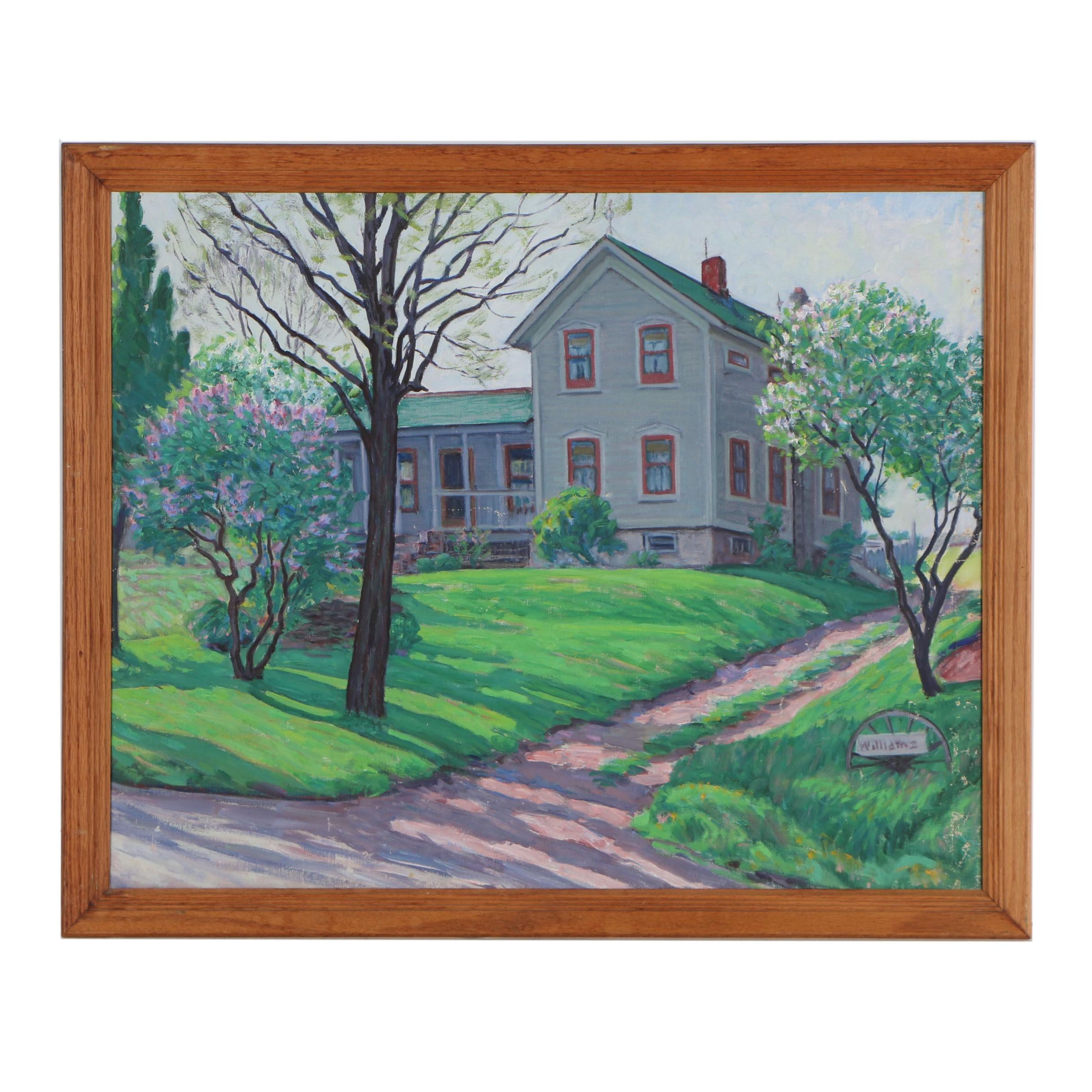 "Robert F. Williams 1961 Oil Painting ""Frank Williams Farm"""