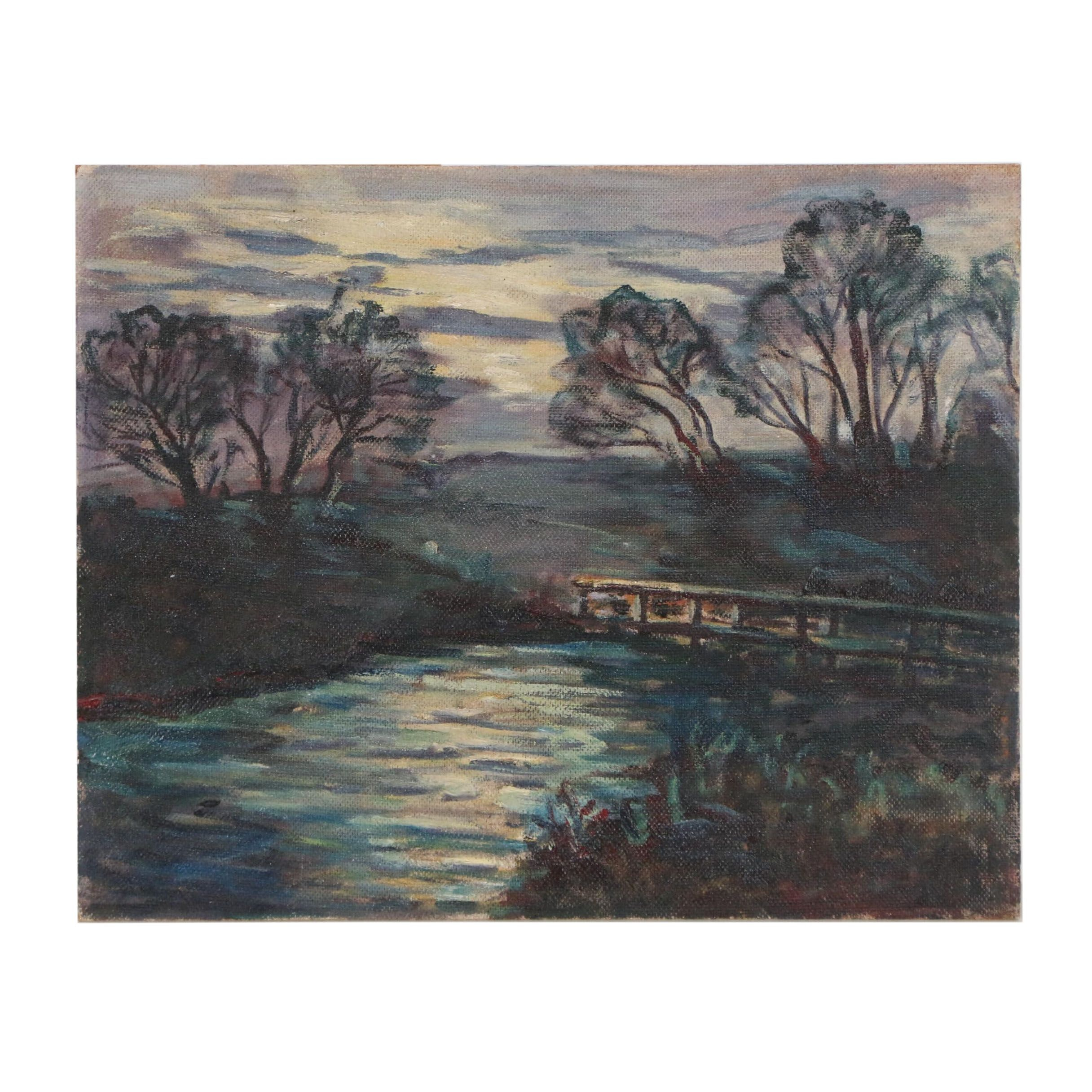 Late 20th Century Oil Painting of River Landscape