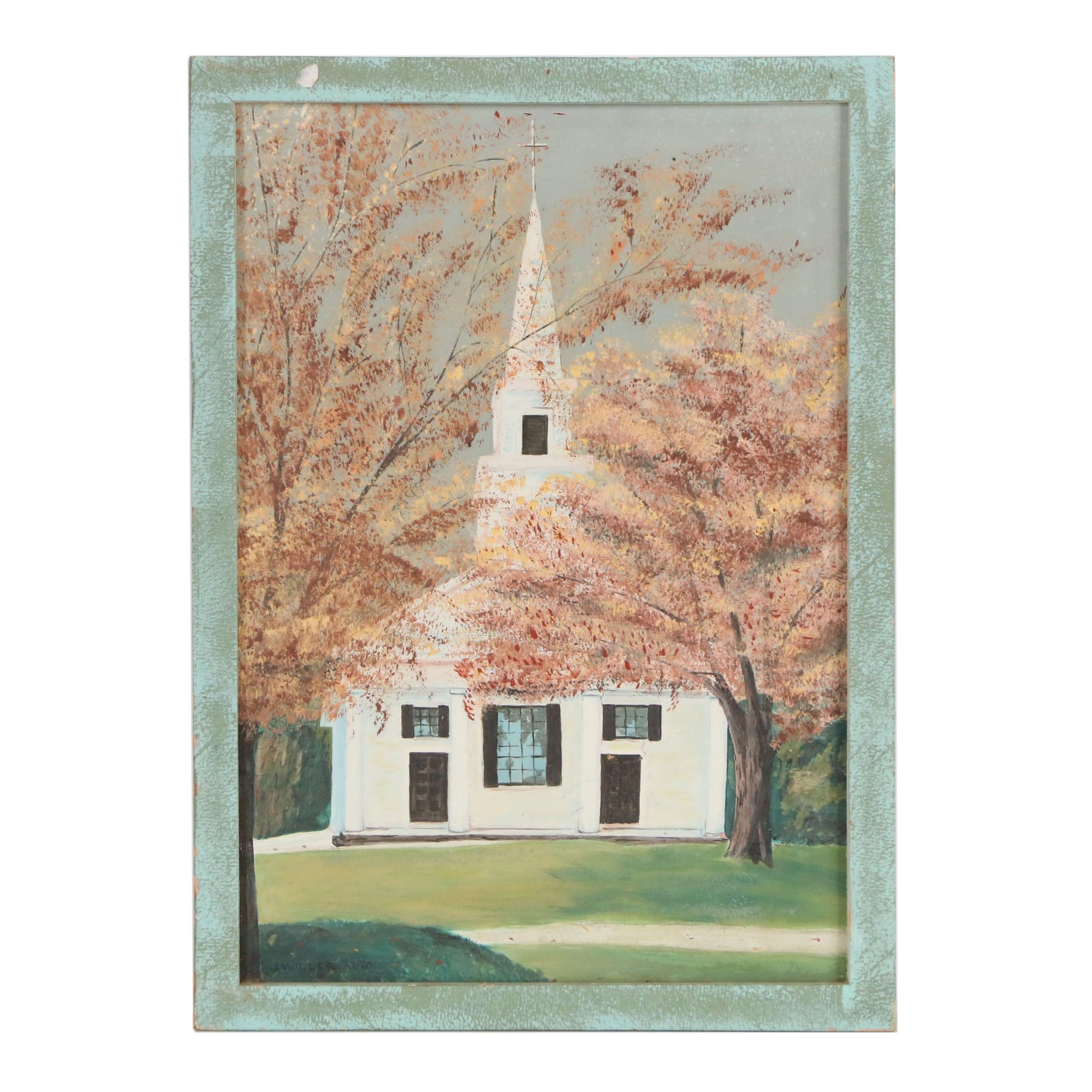 George J. Willer Jr. Oil Painting of Church Facade