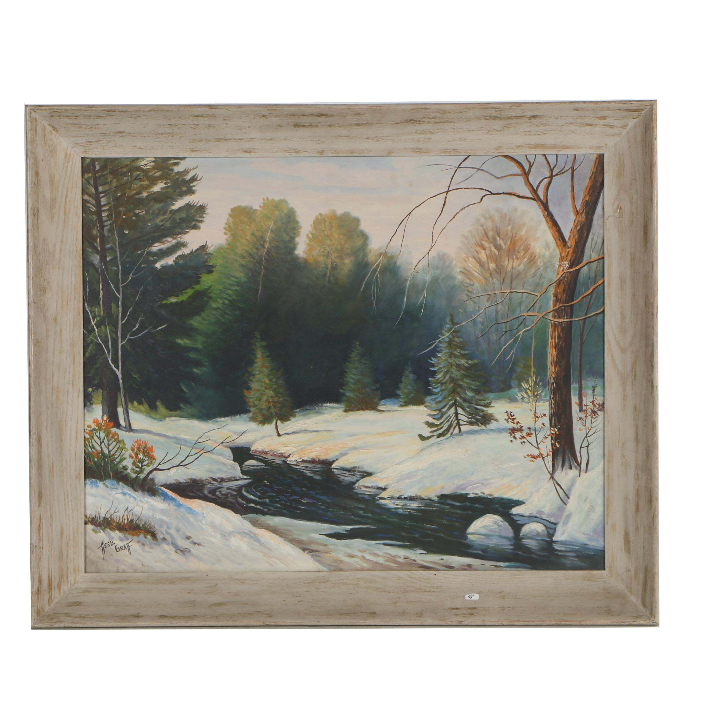 Herb Graff Oil Painting of Winter Landscape