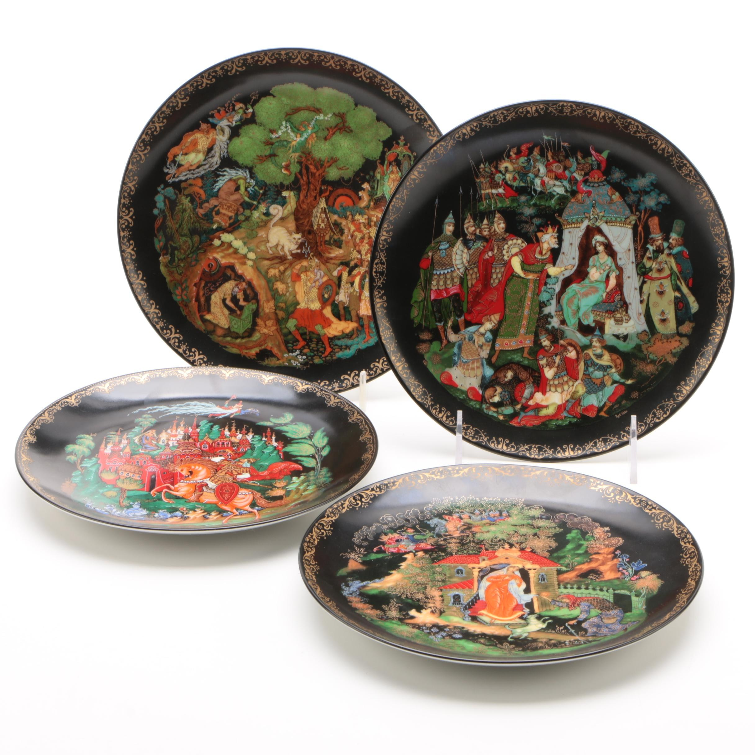 """Tianex """"Russian Legends"""" Porcelain Collector Plates, Late 1980s"""