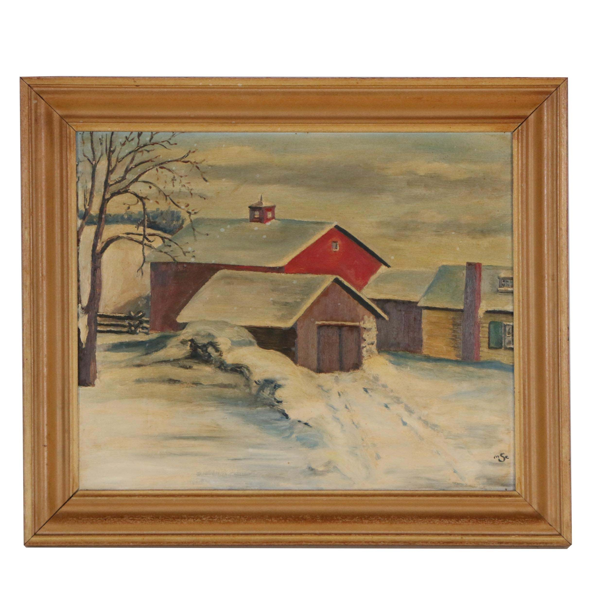 Early-Mid 20th Century Oil Painting of Farm Landscape