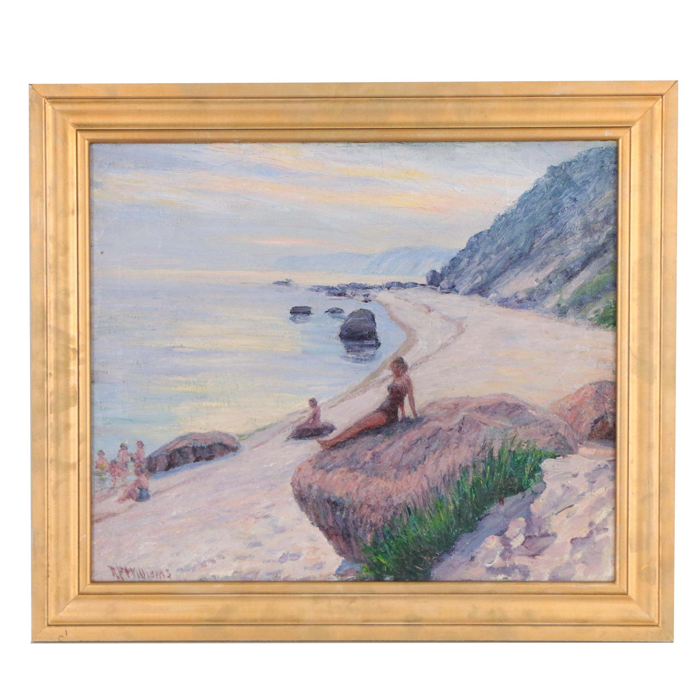"Robert F. Williams Oil Painting ""Figure Posing"""