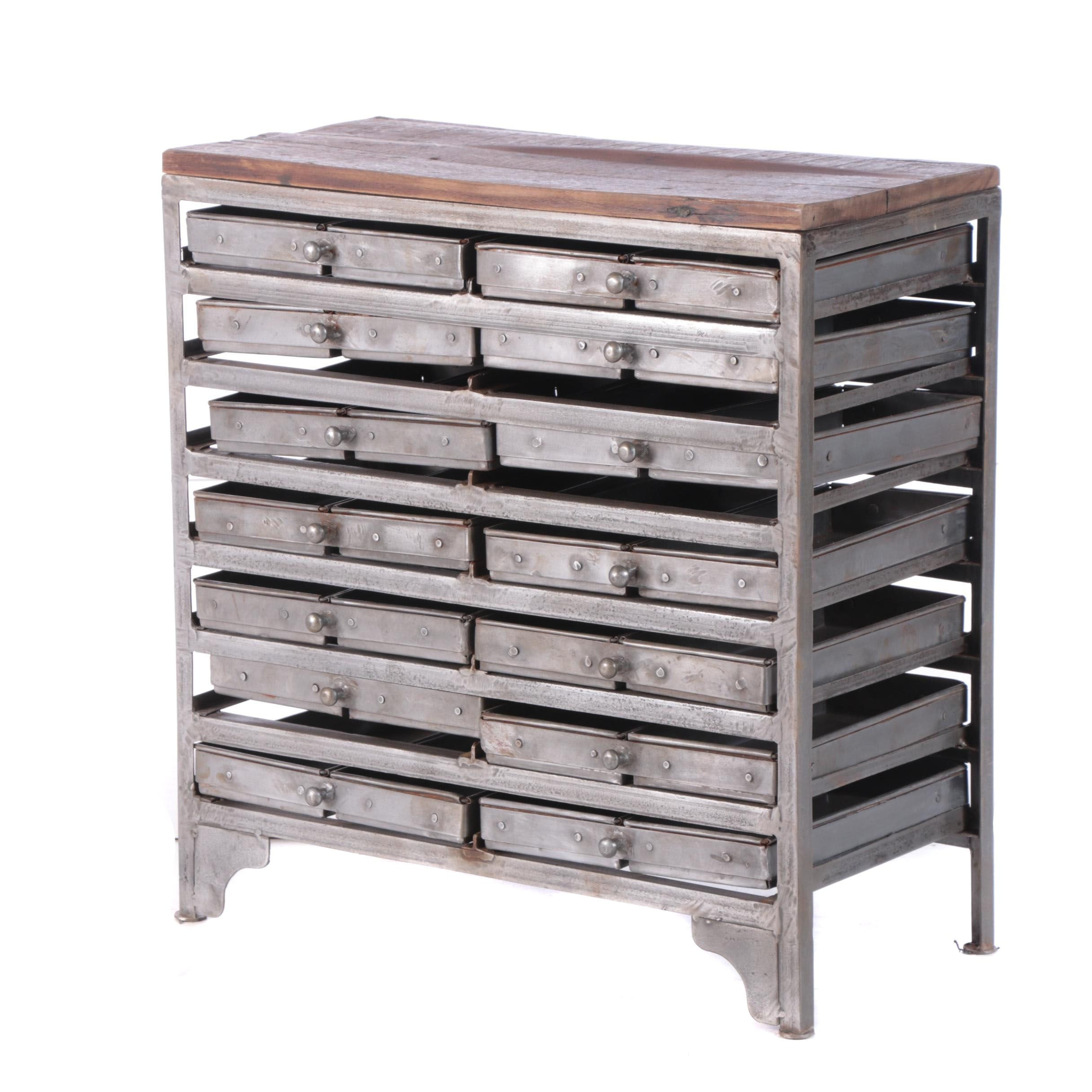 Industrial Style Steel Cabinet with Segmented Flat File Drawers