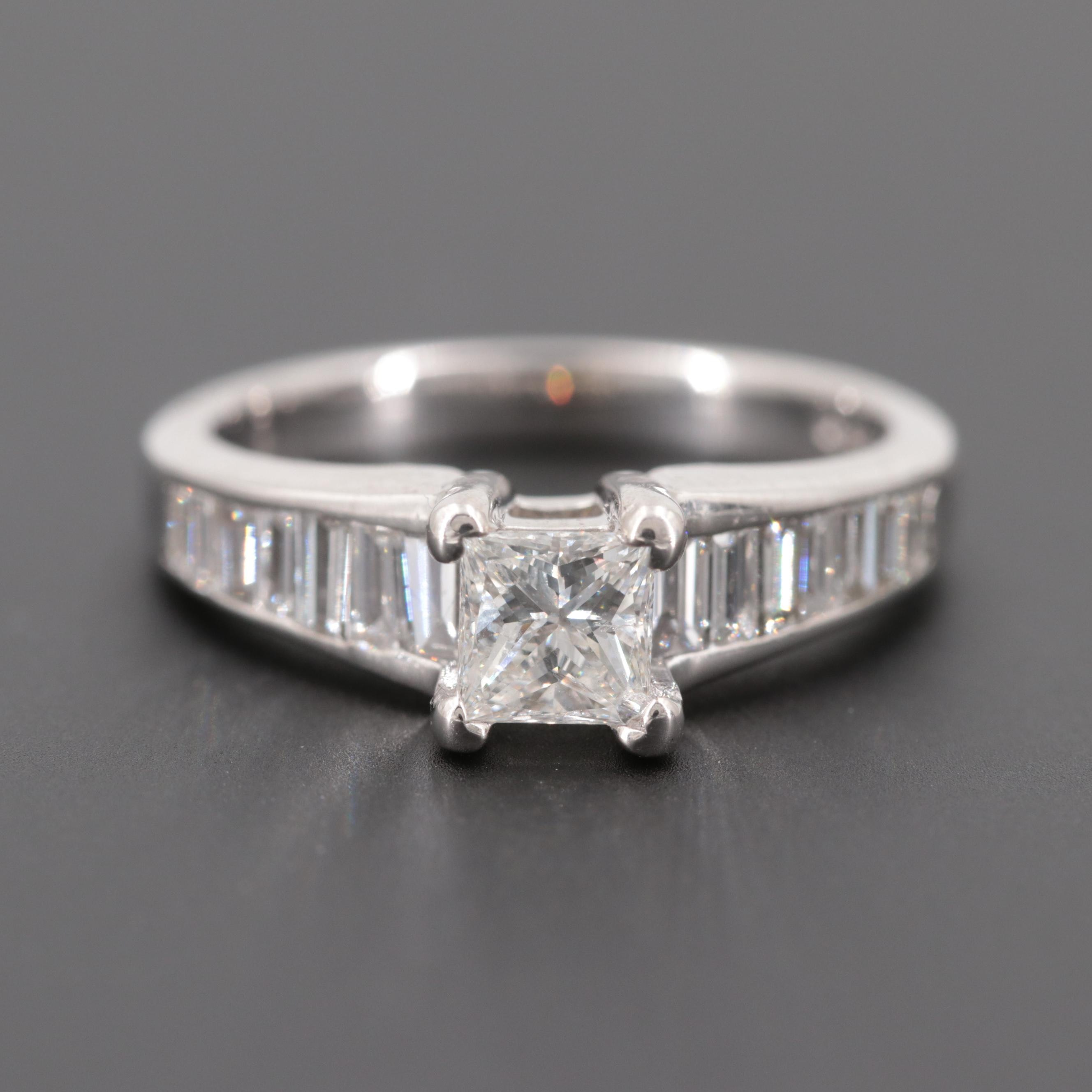 14K White Gold 1.55 CTW Diamond Ring