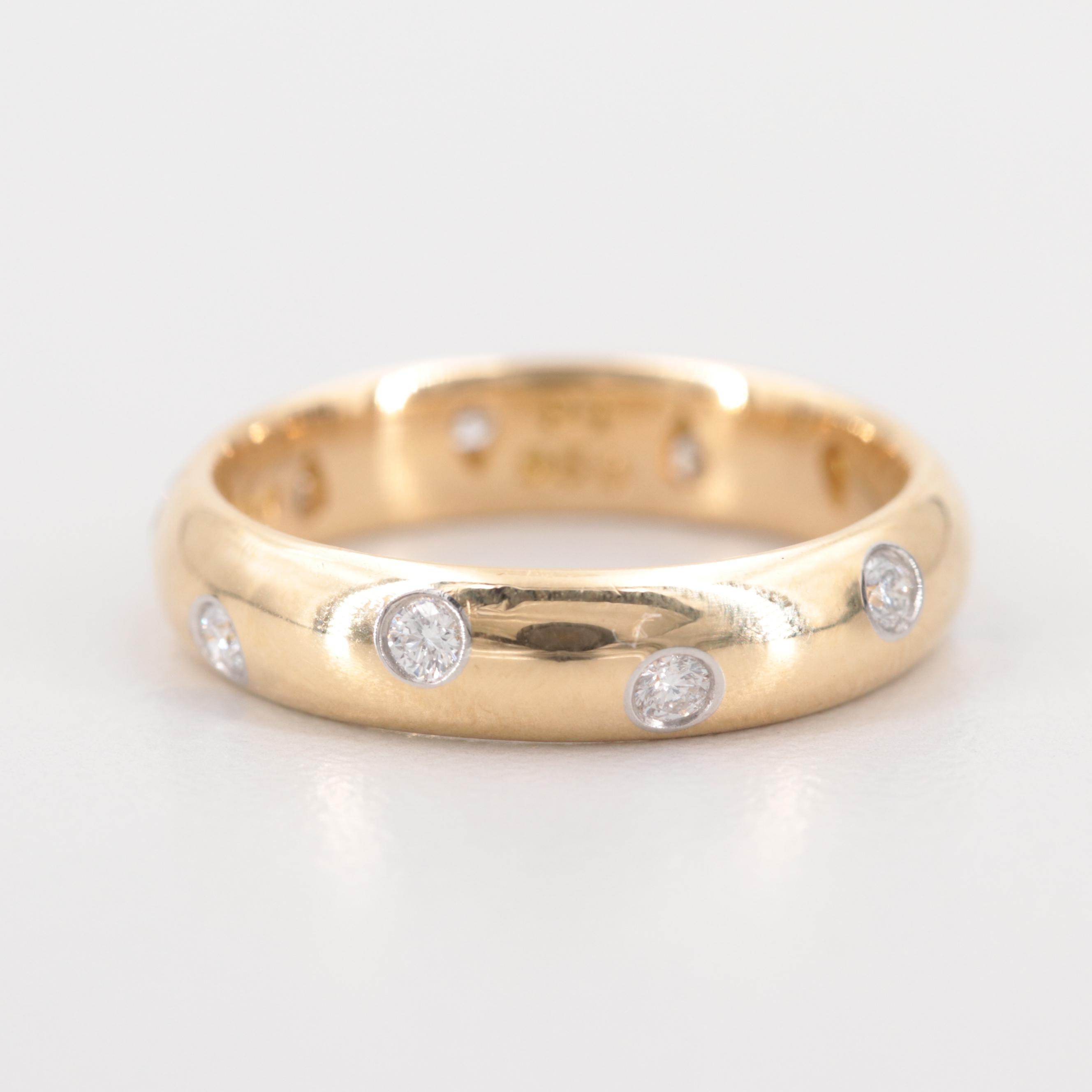 Tiffany & Co. 18K Yellow Gold Etoile Diamond Band With Platinum Accents