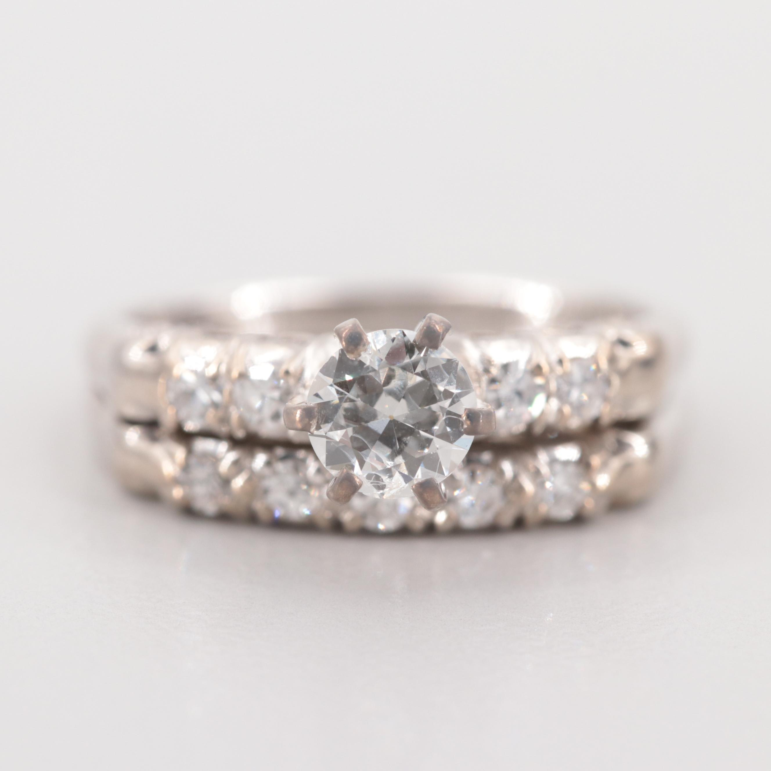 18K White Gold Diamond Ring Set