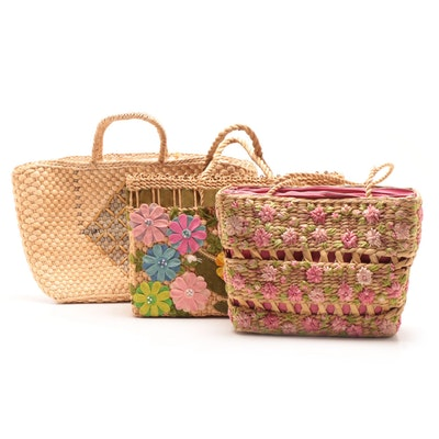 15871ddfd86c Vintage Bags by Patricia Floral Embellished Straw Bag and Other Tote Bags
