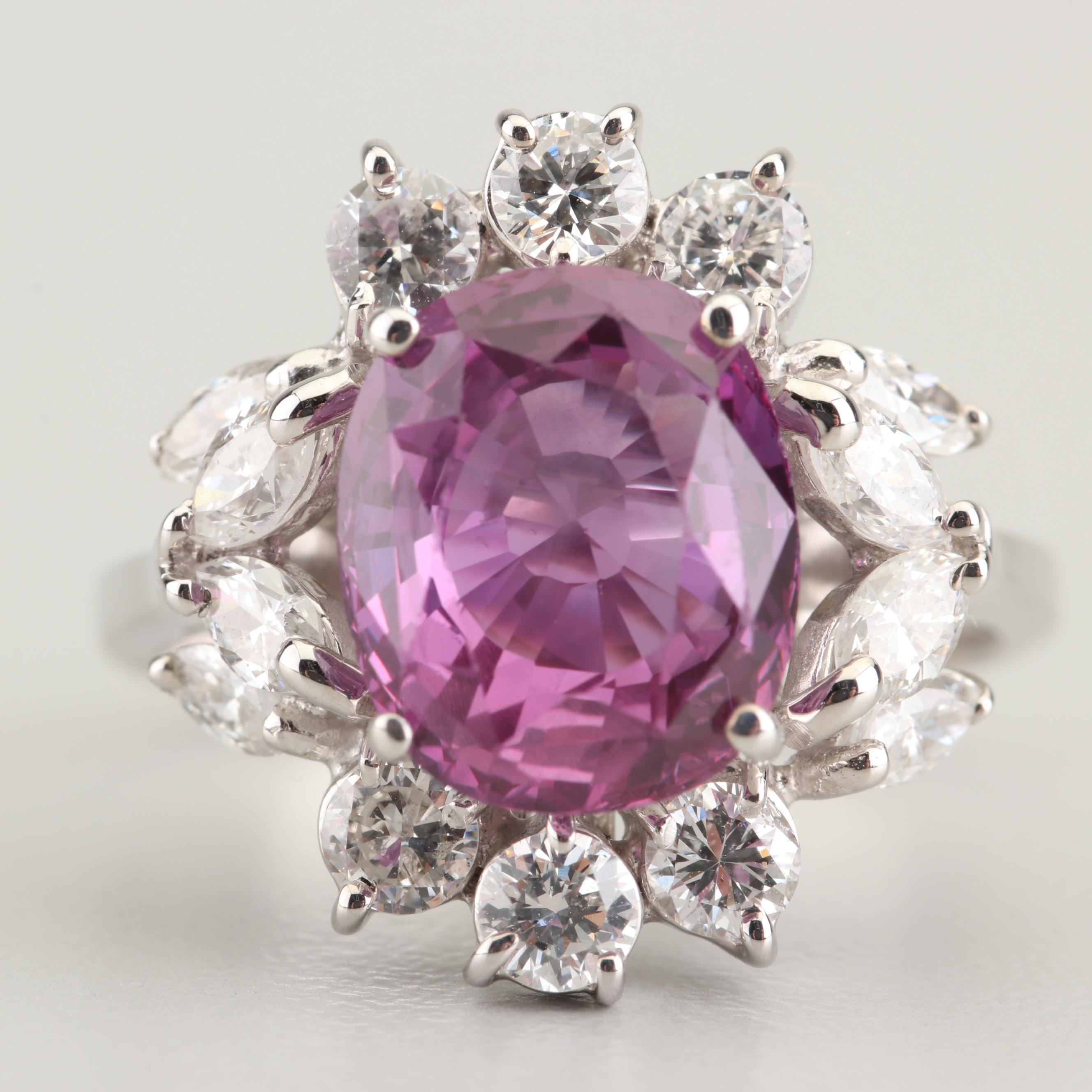 18K White Gold 4.20 CT Pink Sapphire and 1.25 CTW Diamond Ring with GIA Report