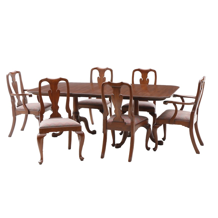 Henkel Harris Manufactured Queen Anne Style Dining Set With Six Chairs Ebth