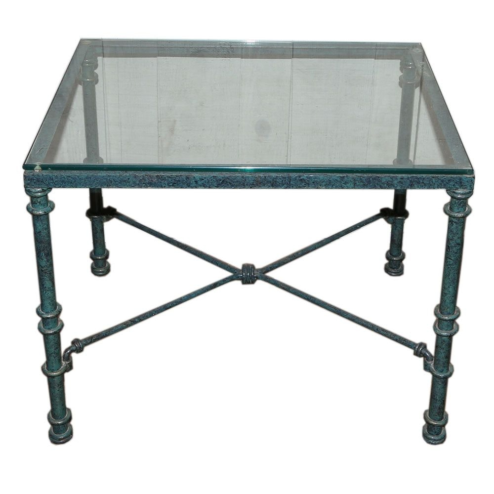 Glass Top Painted Metal Side Table, 20th Century