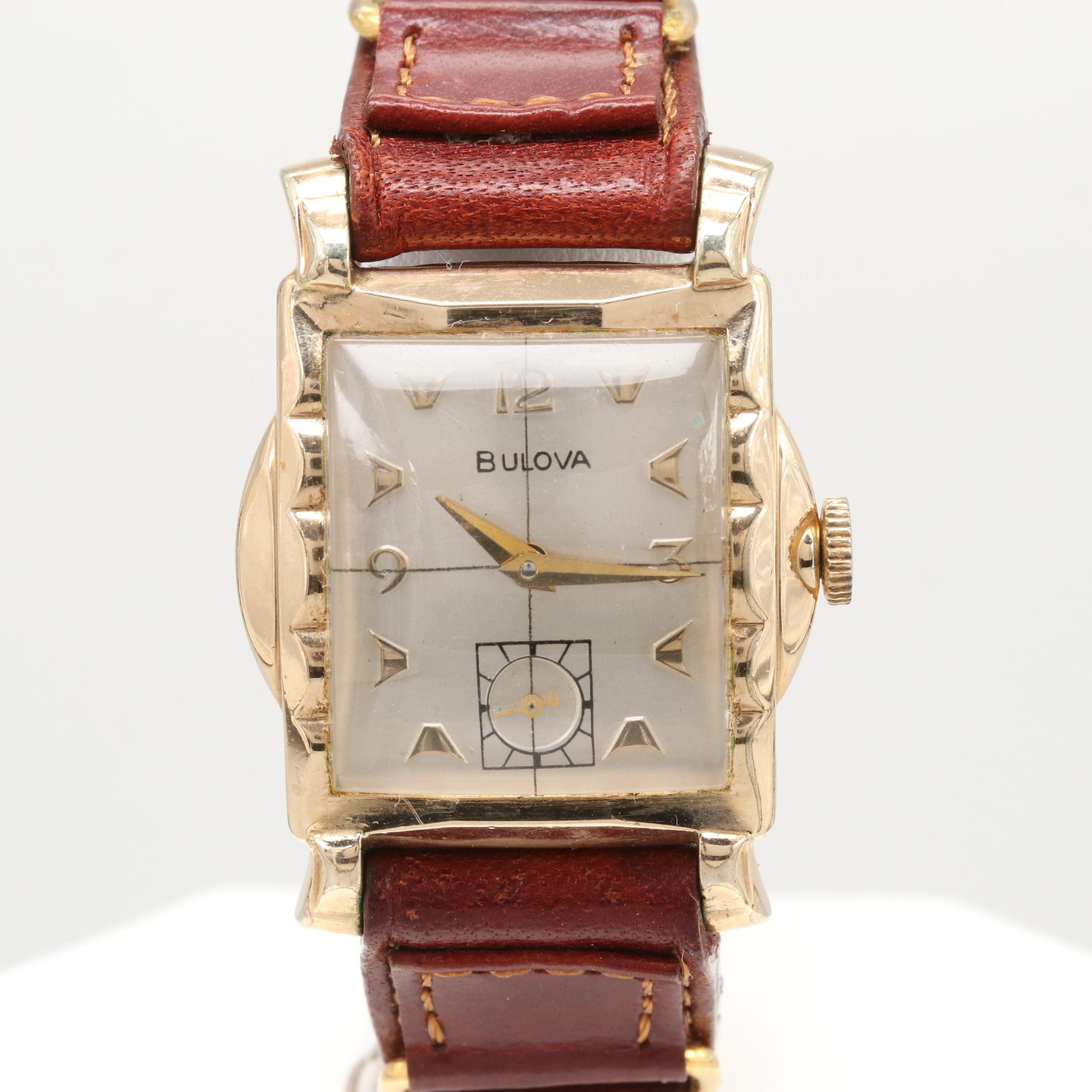 Bulova 10K Gold Plated Stem Wind Wristwatch
