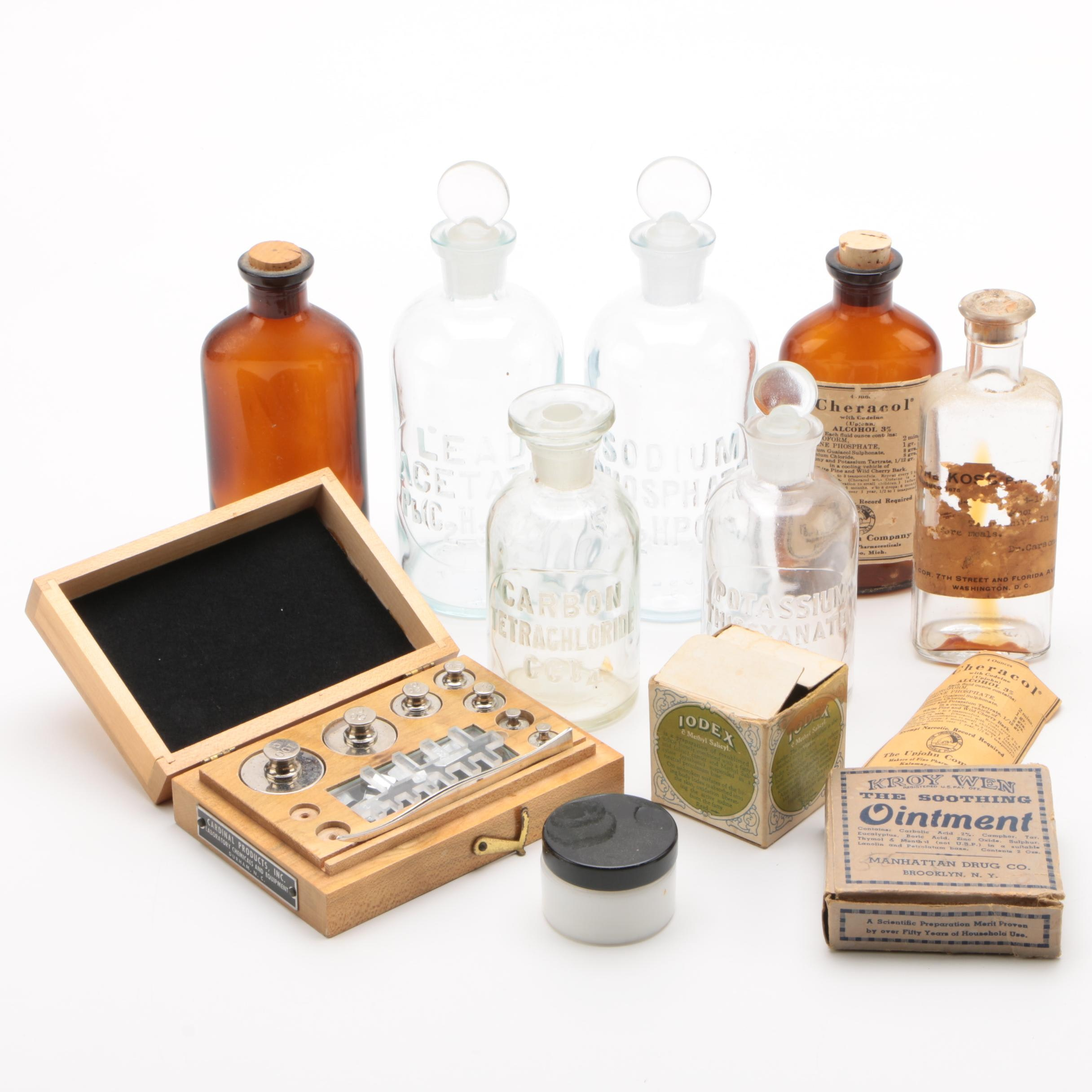 Apothecary Bottles and Laboratory Weights Set