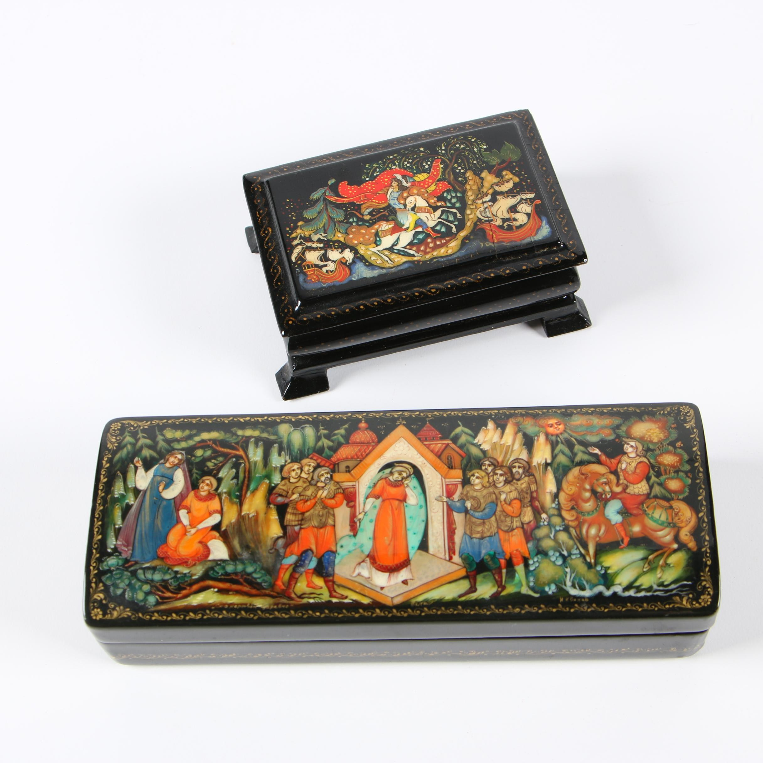 Russian Hand-Painted Lacquered Trinket Boxes with Folklore Scenes
