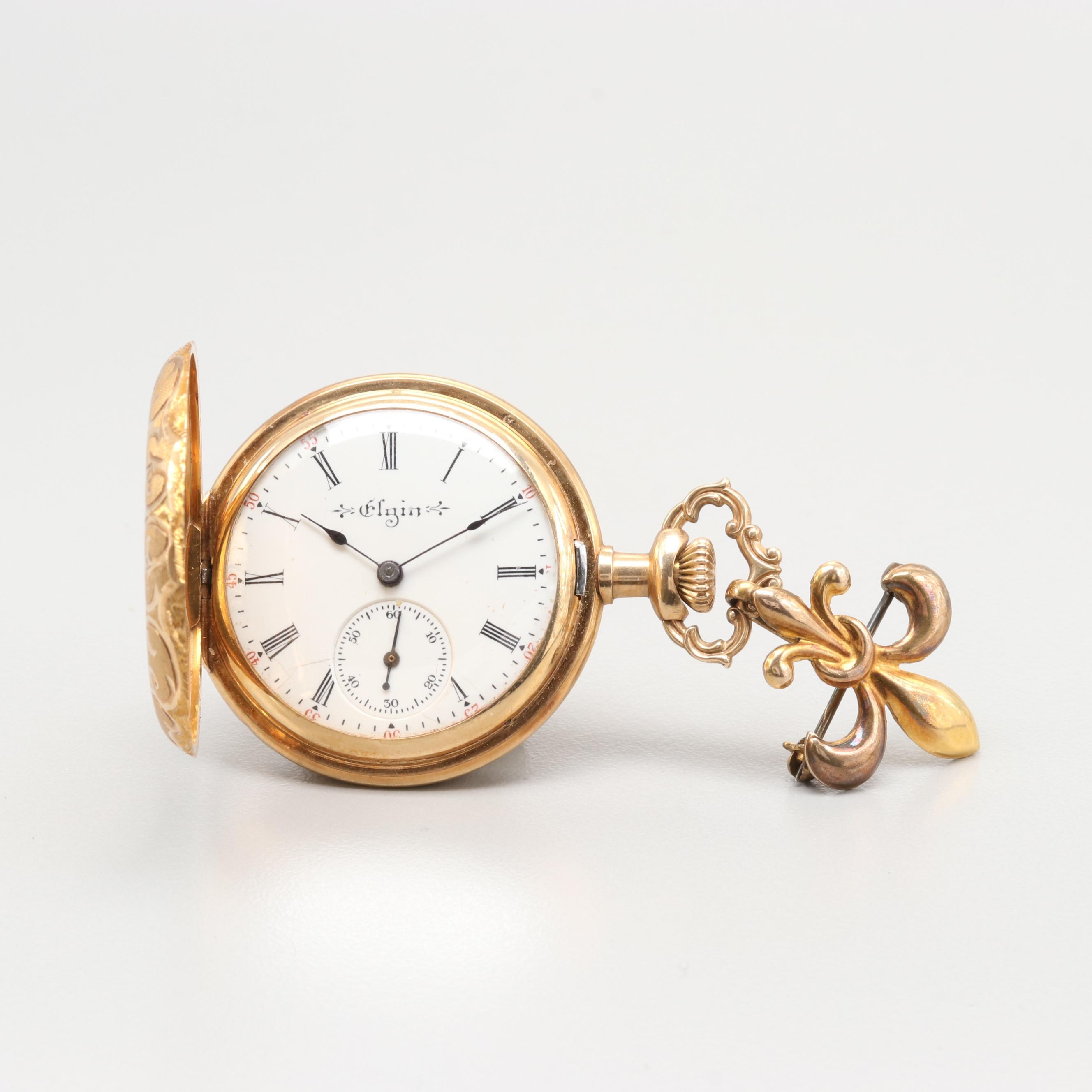 Elgin 14K Gold Hunting Case Pocket Watch With Fleur de Lis Pin, Circa 1904