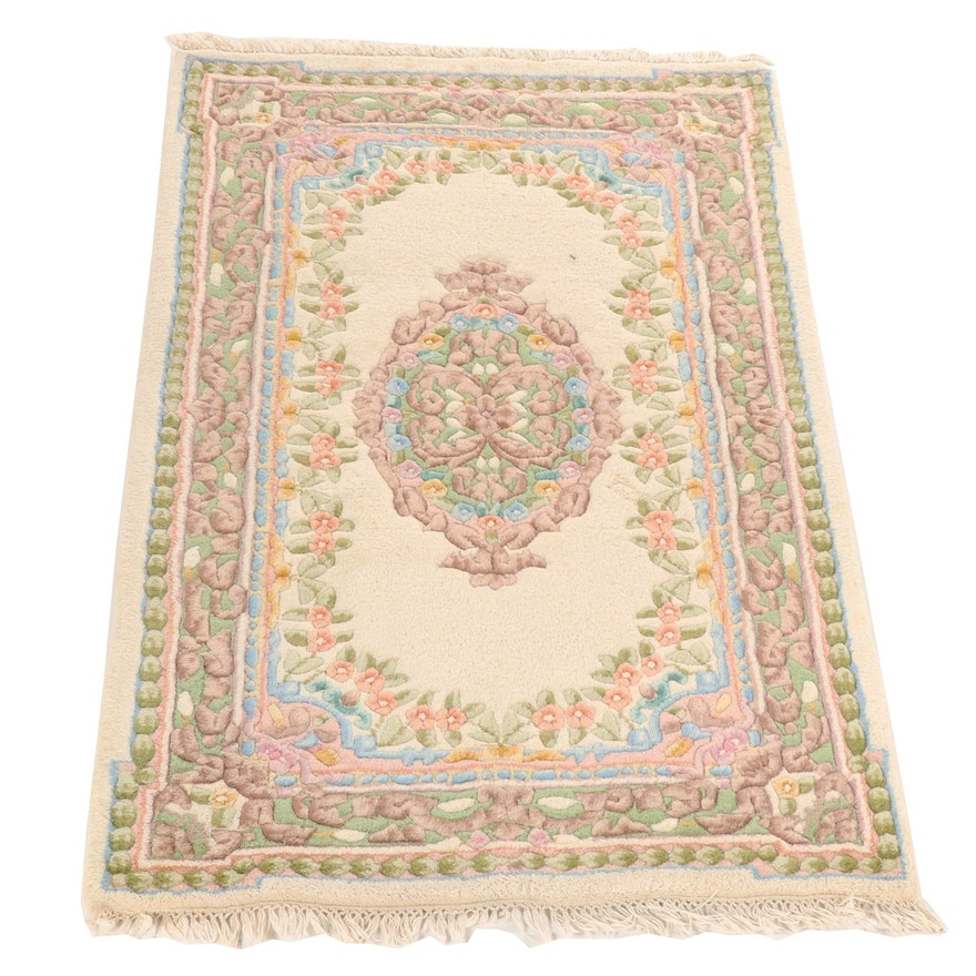 Hand Knotted And Carved Chinese Floral Wool Rug Ebth