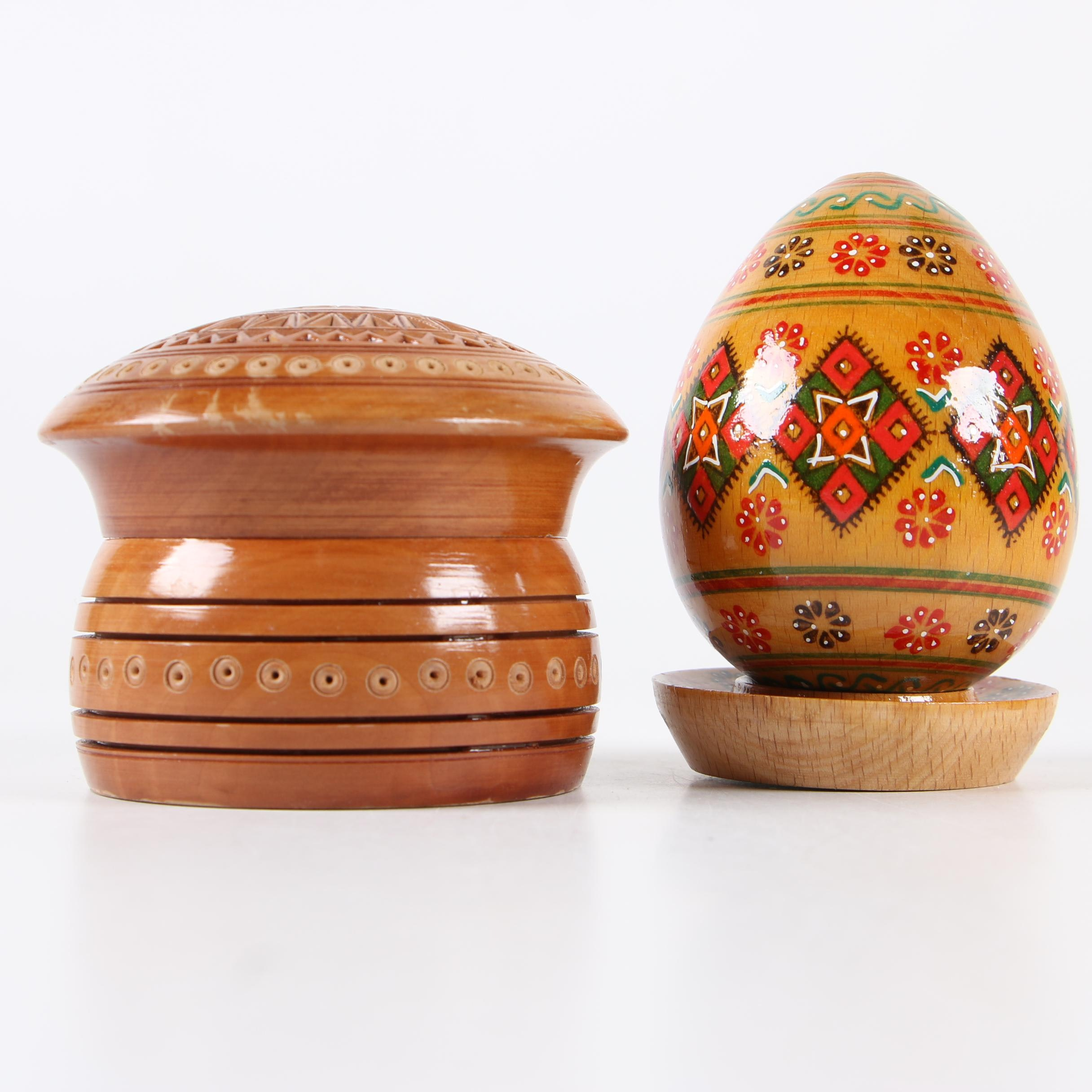 Carved and Painted Wood Egg and Box