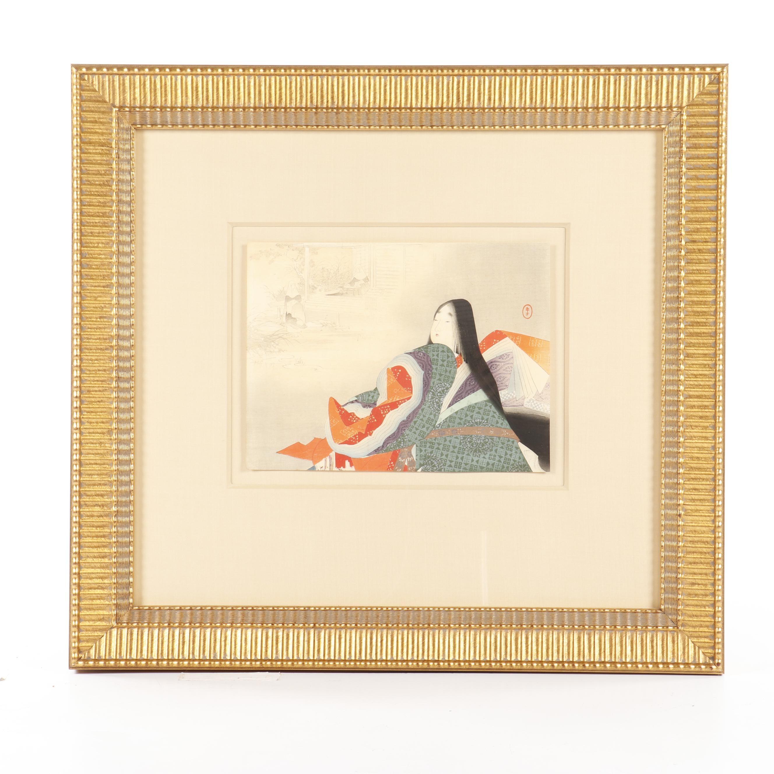 "Mizuno Toshikata Kuchi-e Woodblock Print ""Empress Tokuko in Jakko-in Temple"""