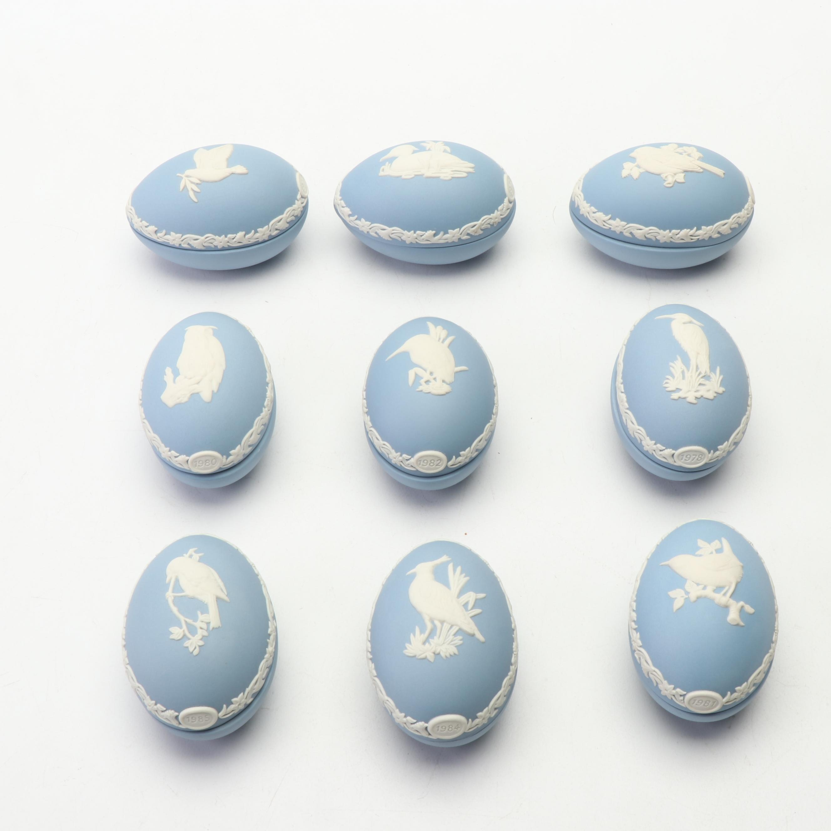 Wedgwood Blue Jasperware Bird Motif Trinket Boxes, 1977-1985
