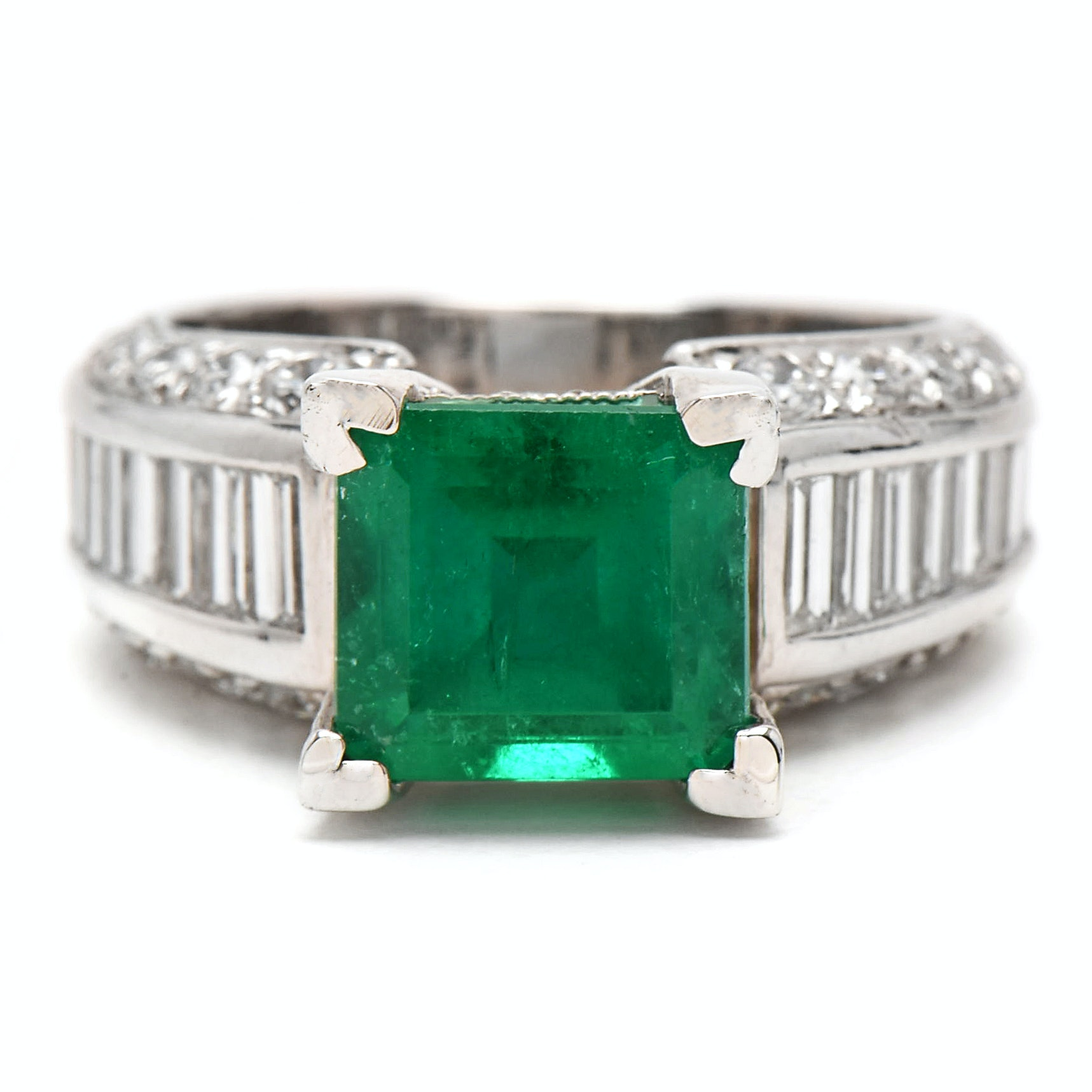 Platinum 3.02 CT Columbian Emerald and 2.72 CTW Diamond Ring with GIA Report