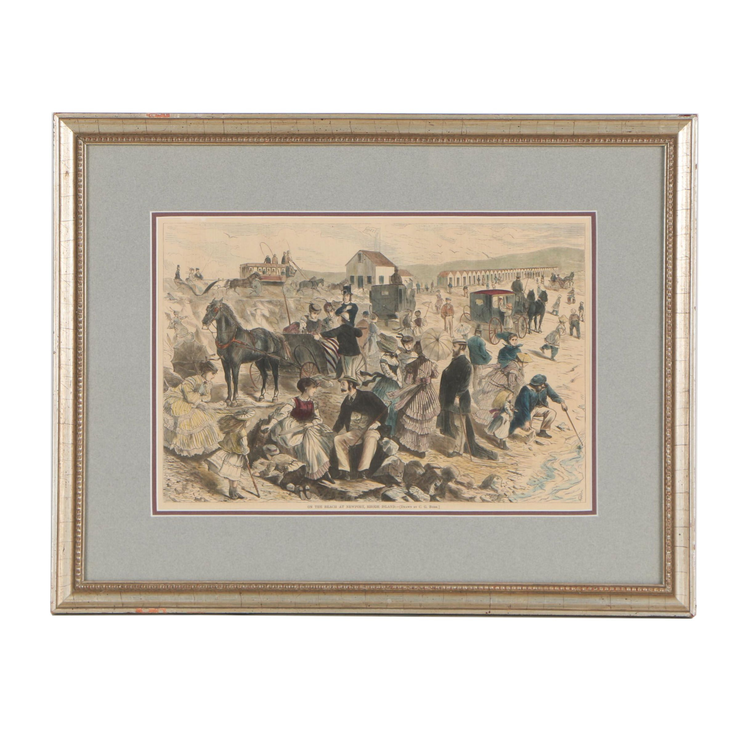 """Wood Engraving after C.G. Bush """"On the Beach at Newport, Rhode Island"""""""