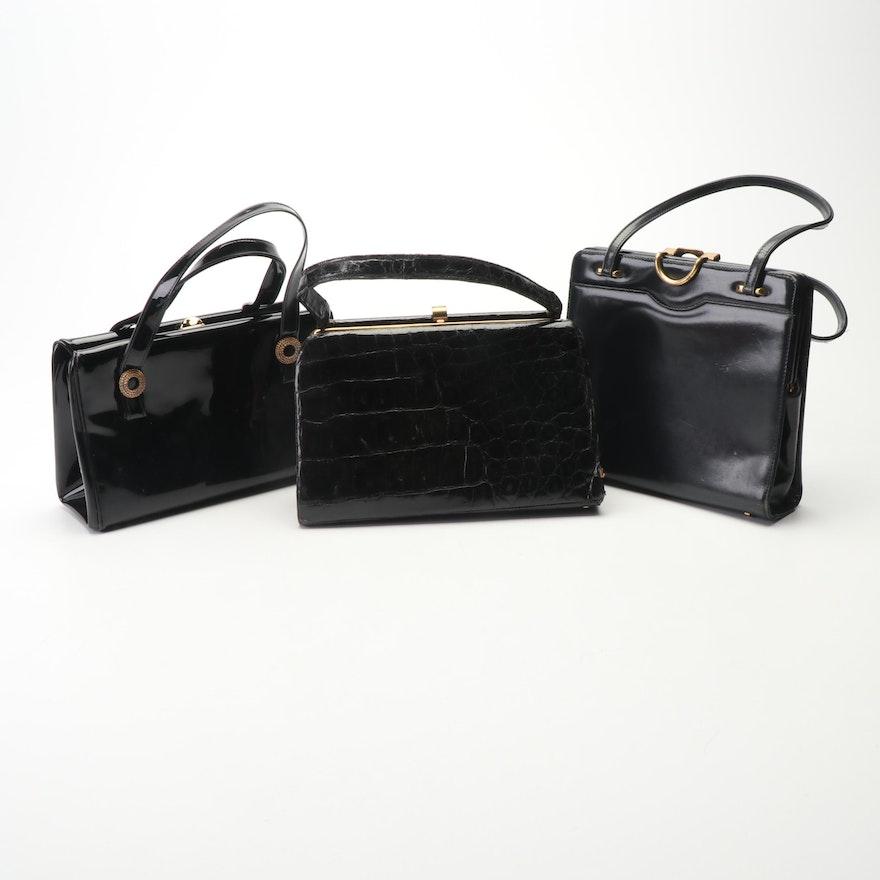 2cbf591eae3b Vintage Black Vinyl, Croc and Patent Leather Handbags Including Bellestone  ...