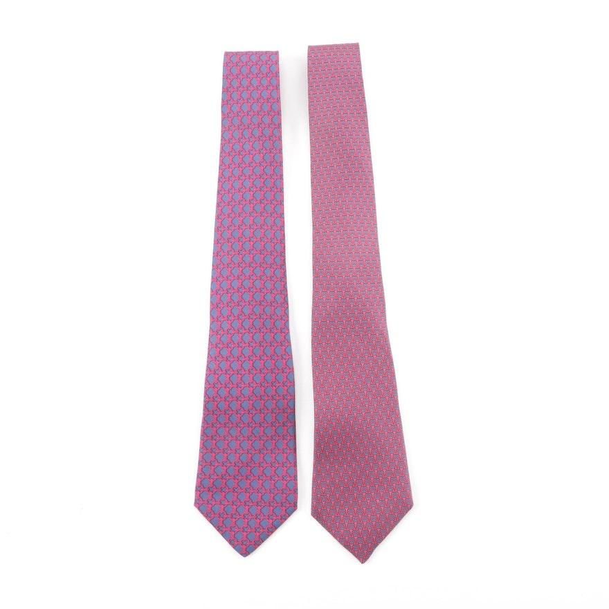 a966dcb28d2c Hermès of Paris 59 EA and 7158 FA Silk Neckties : EBTH