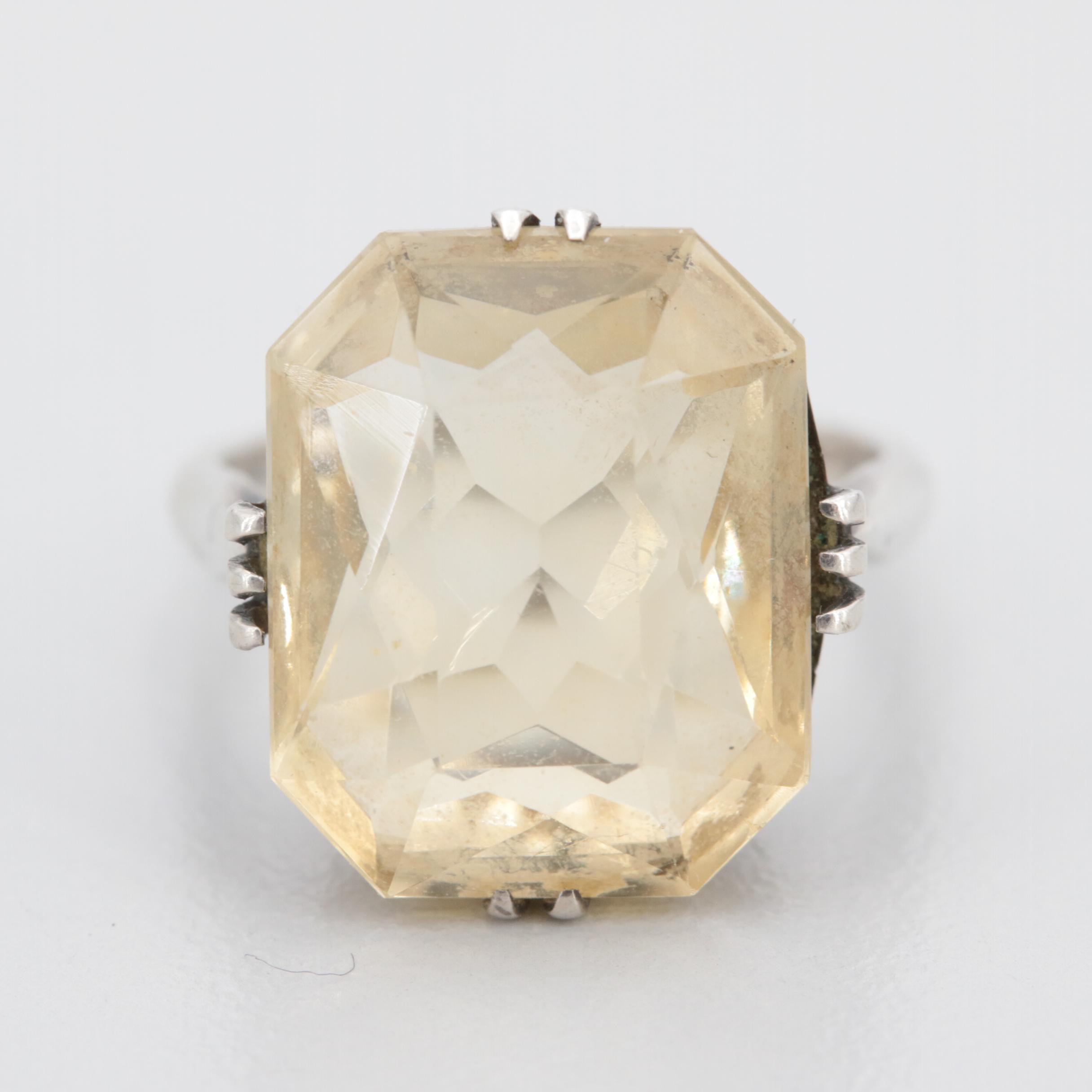 Vintage 830 Silver Citrine Ring