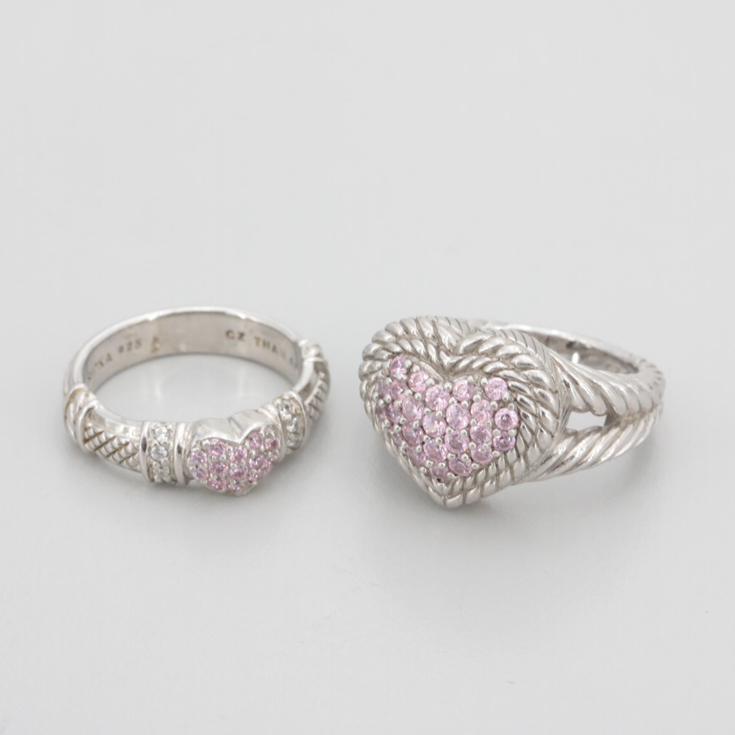 Judith Ripka Sterling Silver Cubic Zirconia Heart Rings