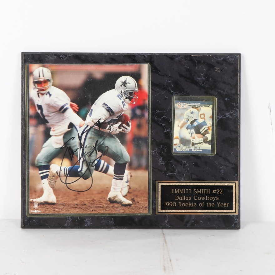 Emmitt Smith Autographed Photograph With Nfl Pro Set Rookie Card On Plaque