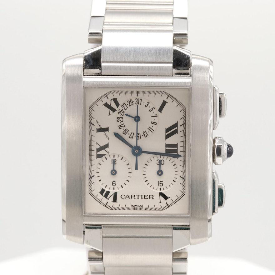 d5b1e8b4f79f Cartier Tank Française ChronoFlex Stainless Steel Wristwatch   EBTH